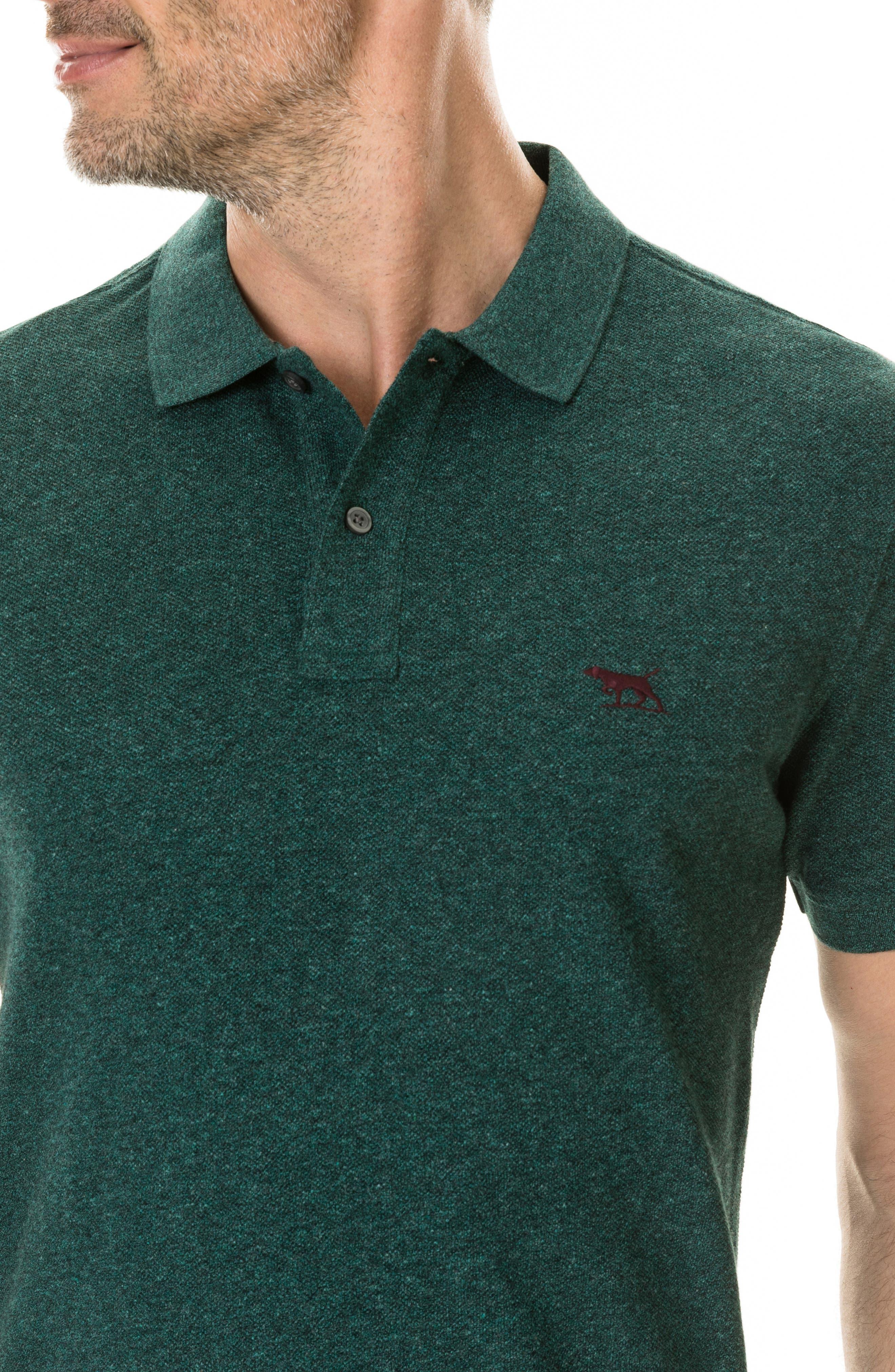 'The Gunn' Piqué Sports Fit Cotton Polo,                             Alternate thumbnail 4, color,                             PINE