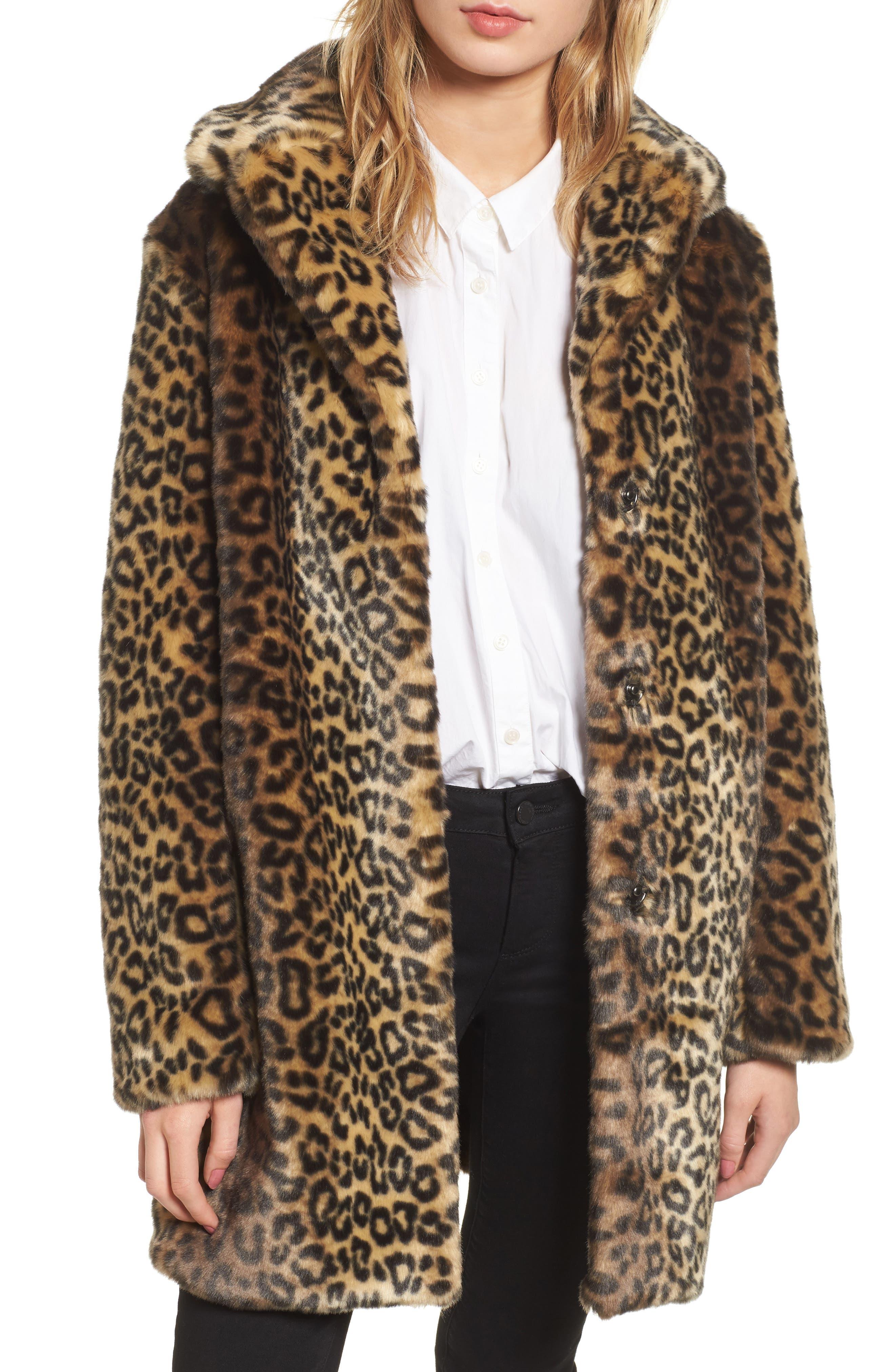 Reversible Cheetah Print Faux Fur Jacket,                             Main thumbnail 1, color,