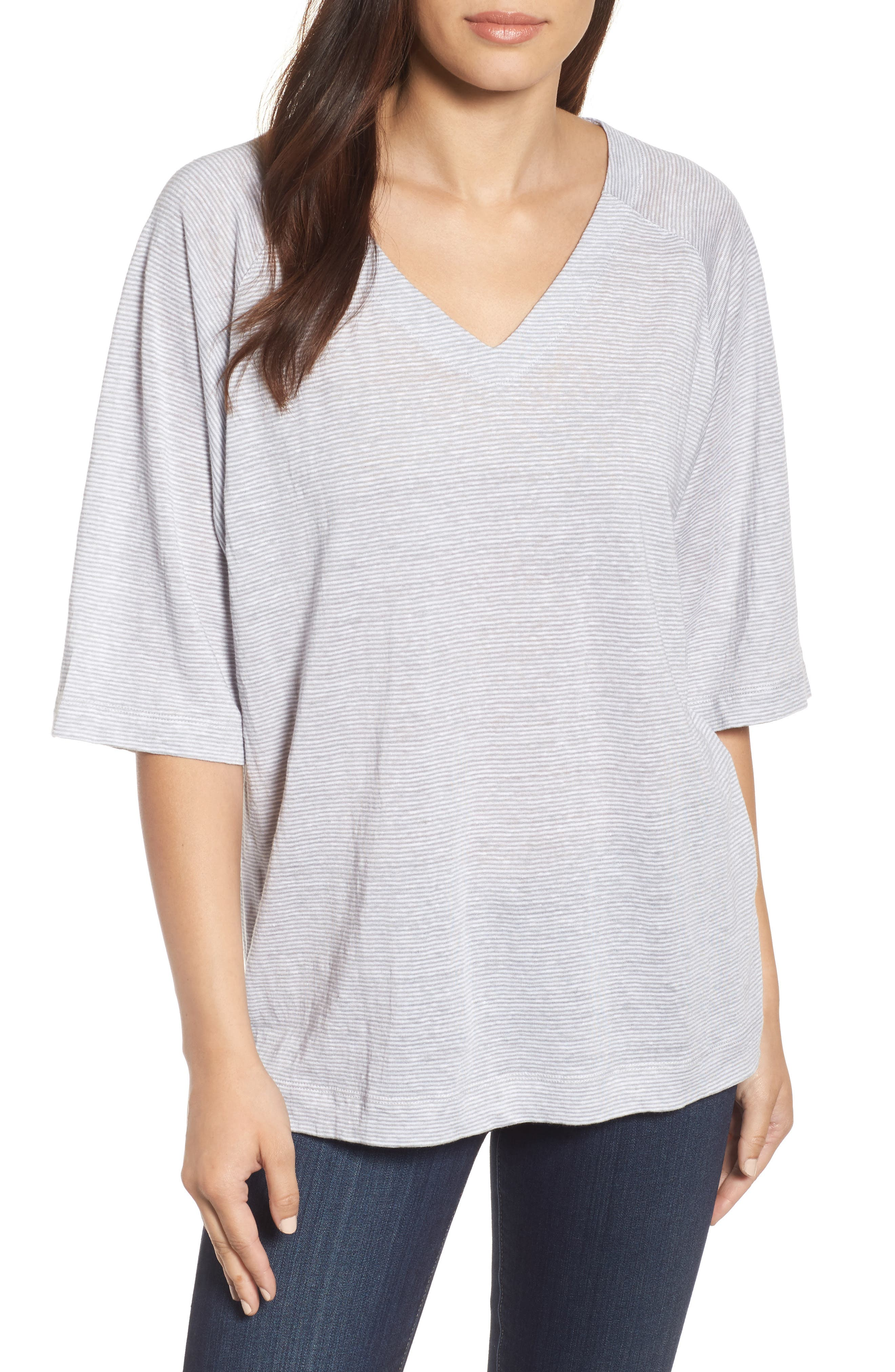 Organic Linen V-Neck Box Tee,                             Main thumbnail 1, color,                             022