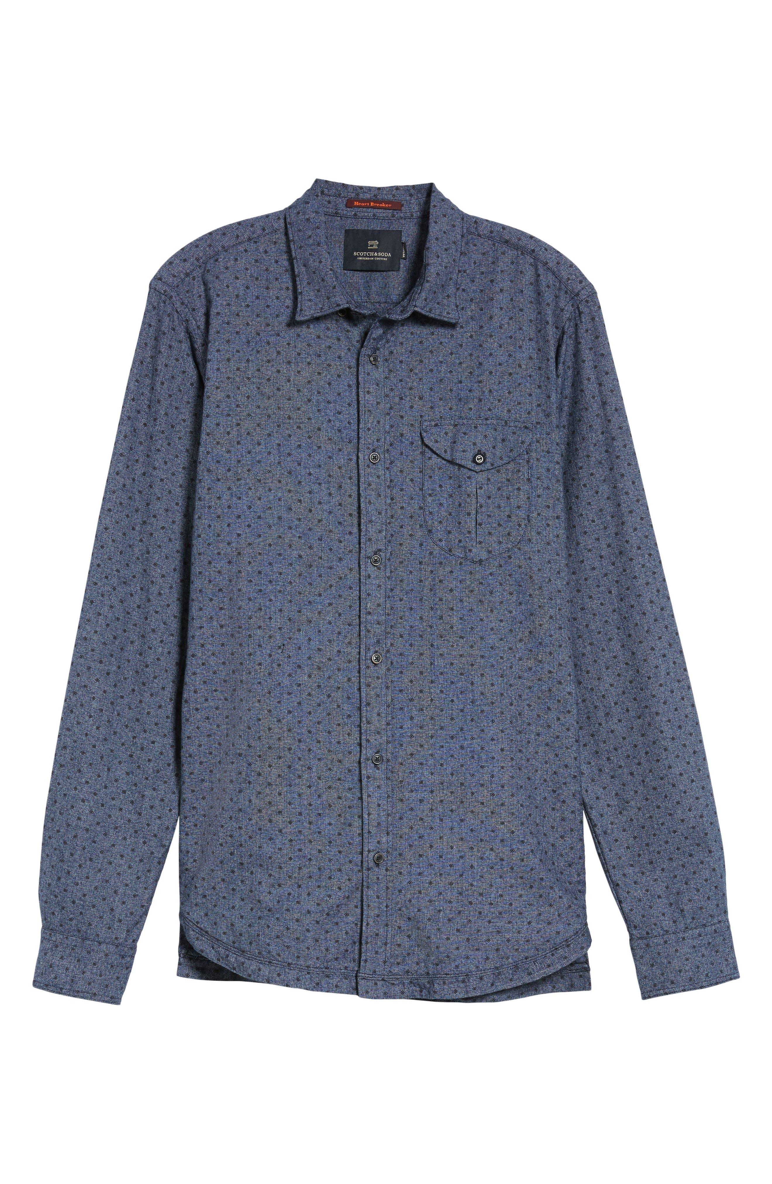 Classic Fit Print Shirt,                             Alternate thumbnail 6, color,                             410