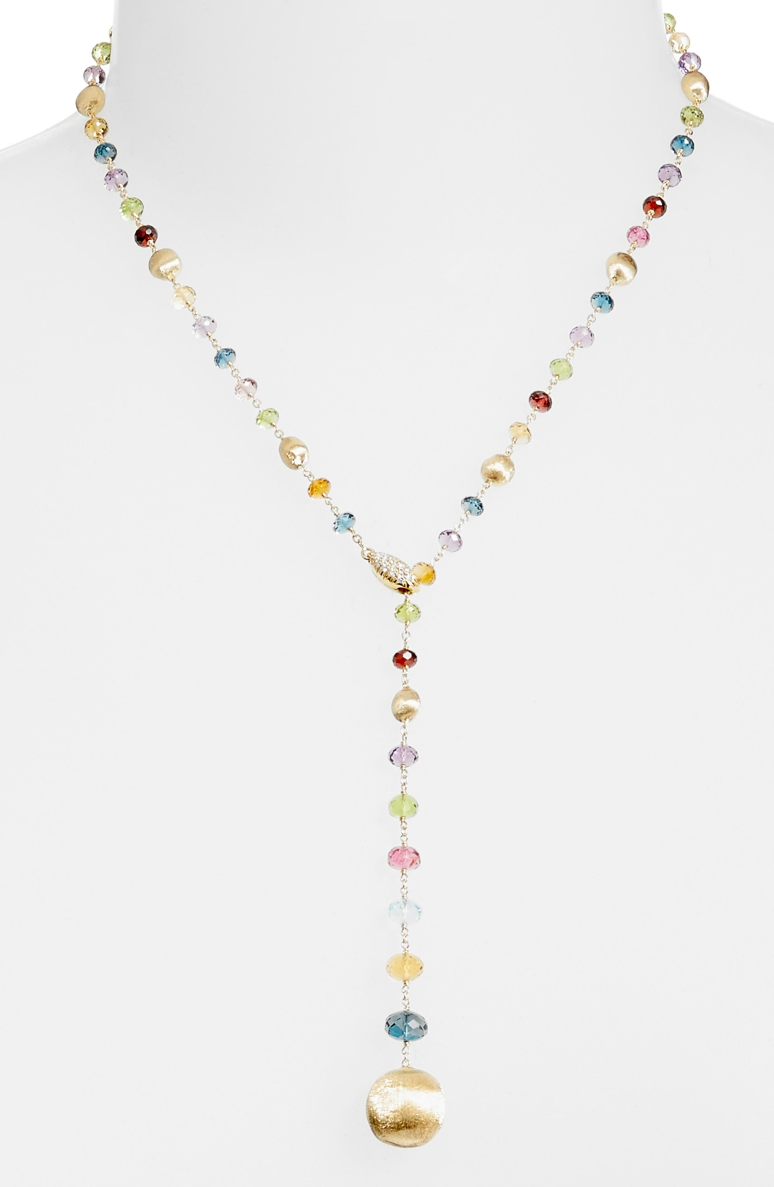 Africa Semiprecious Stone Lariat Necklace,                             Main thumbnail 1, color,                             YELLOW GOLD