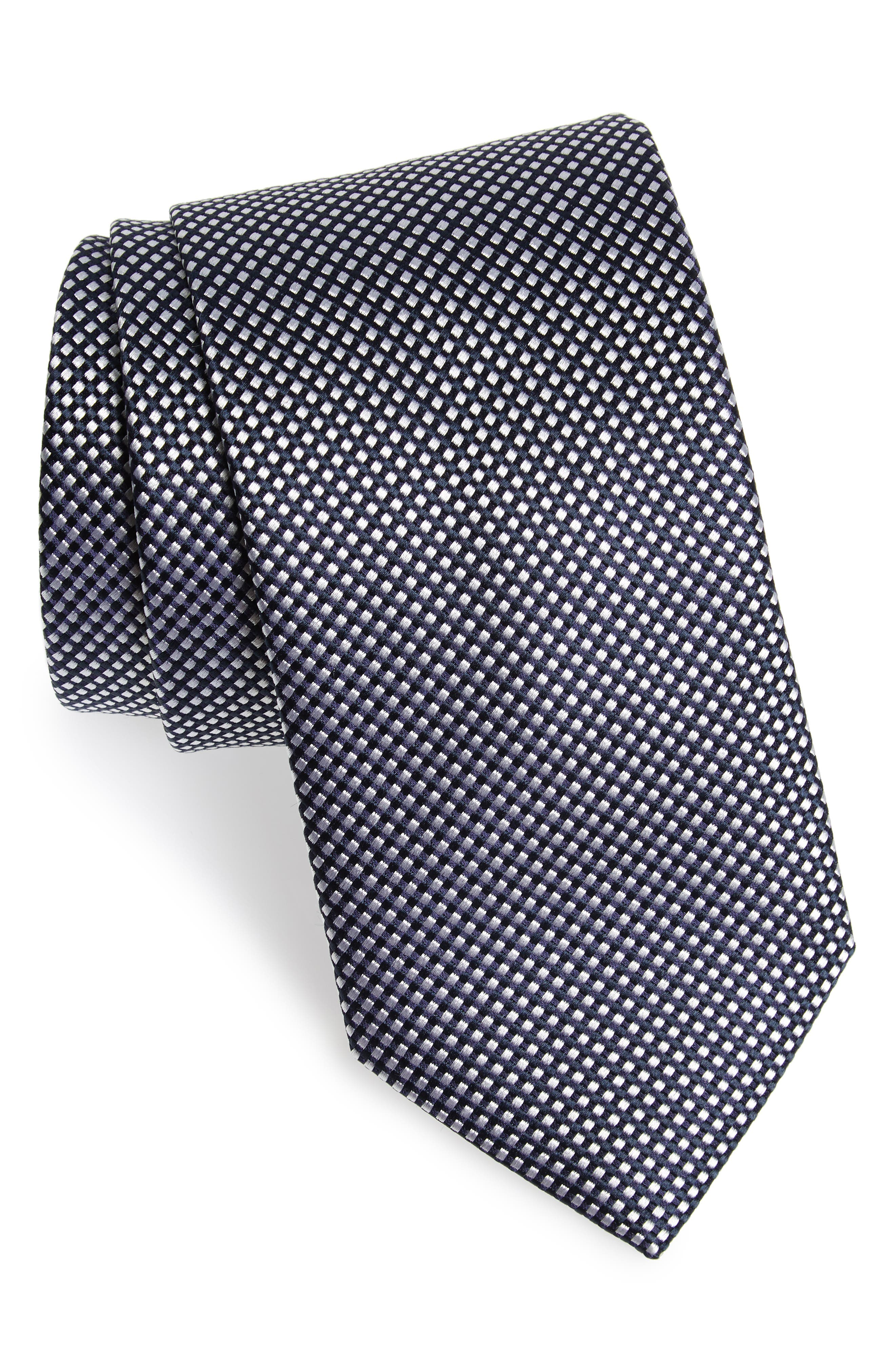 Check Silk Tie,                         Main,                         color, BLACK