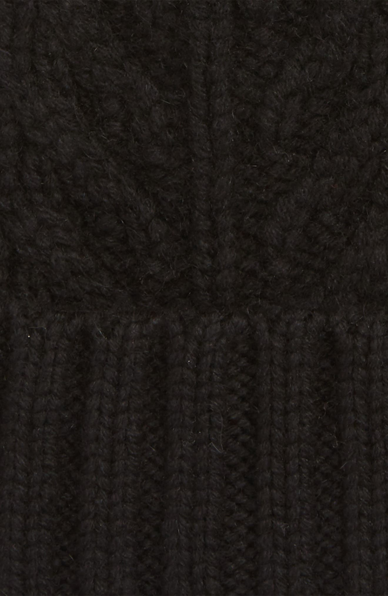 UGG<sup>®</sup> Pompom Cable Genuine Shearling Beanie,                             Alternate thumbnail 2, color,                             BLACK