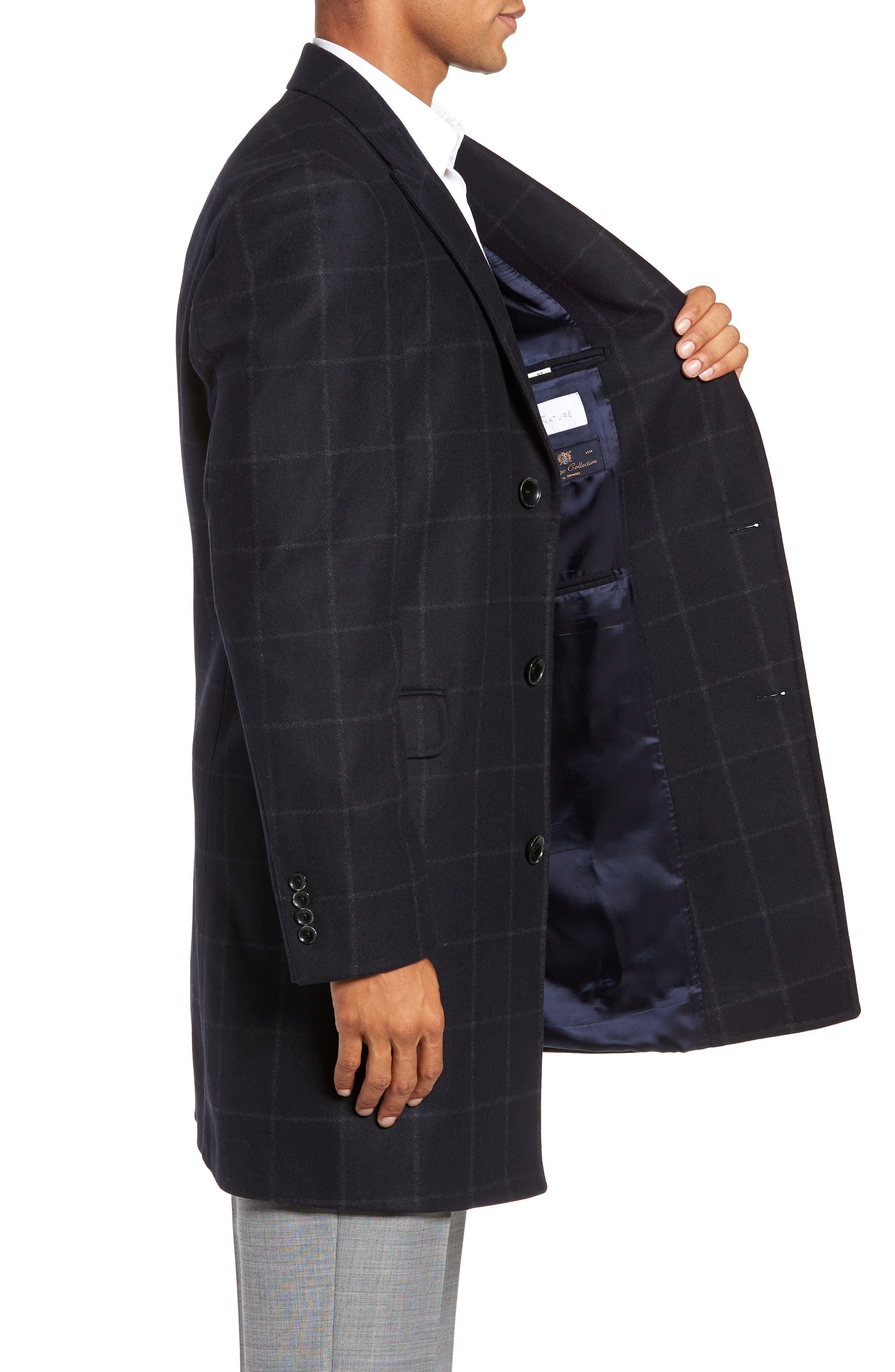 Addison Windowpane Wool Blend Overcoat,                             Alternate thumbnail 3, color,                             NAVY