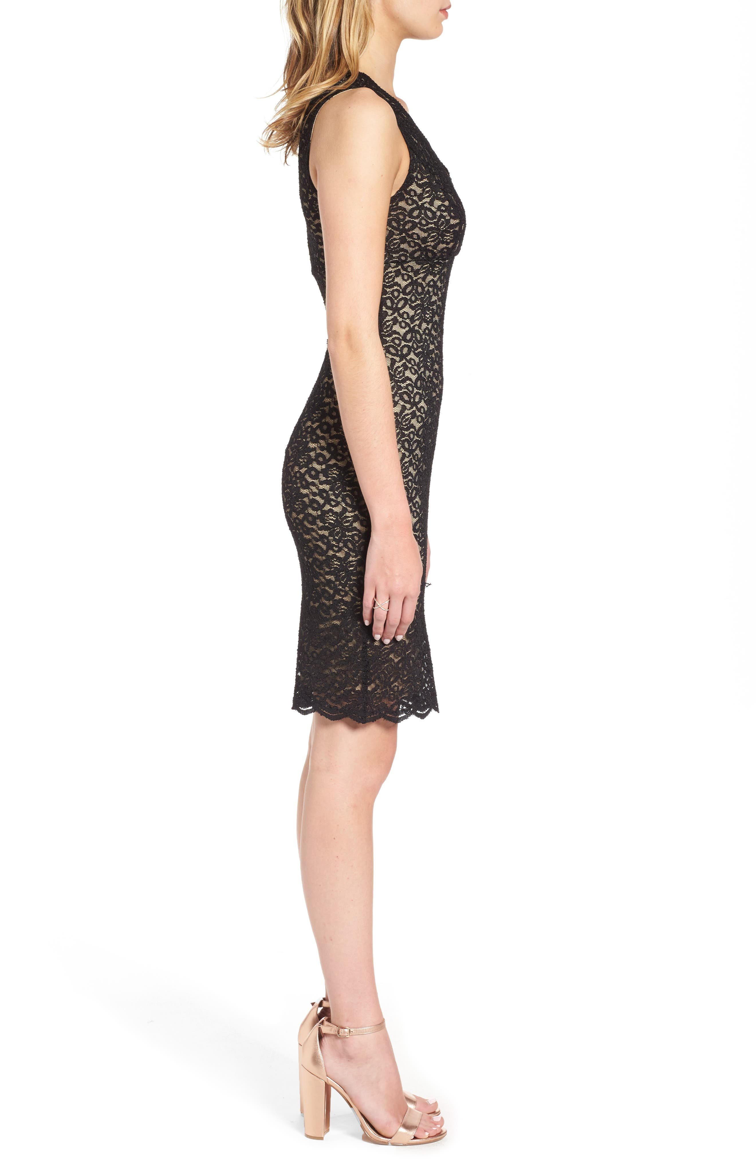 Lace Body Con Dress,                             Alternate thumbnail 3, color,                             001