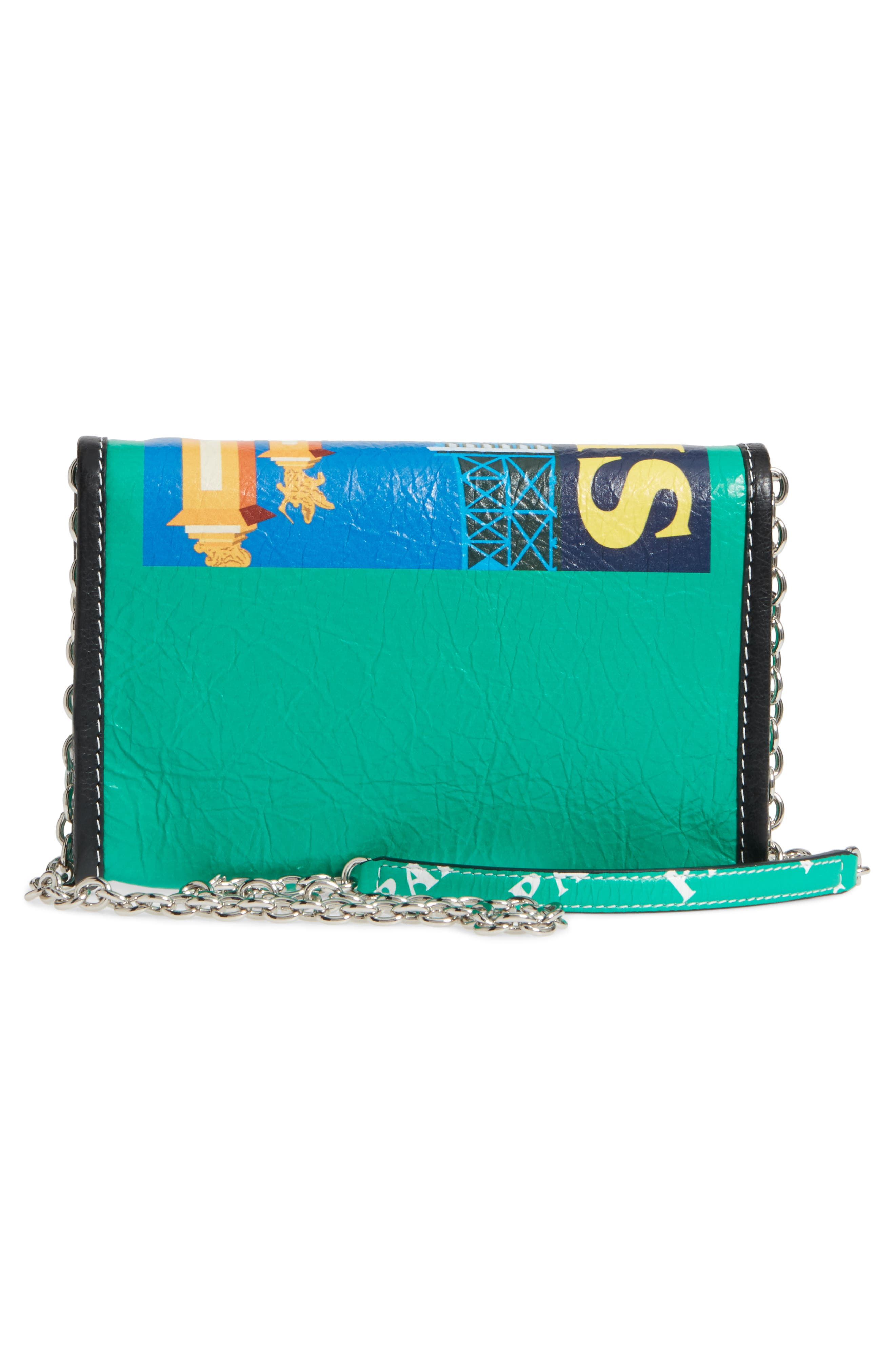 Bazar Printed Leather Wallet on a Chain,                             Alternate thumbnail 3, color,                             001