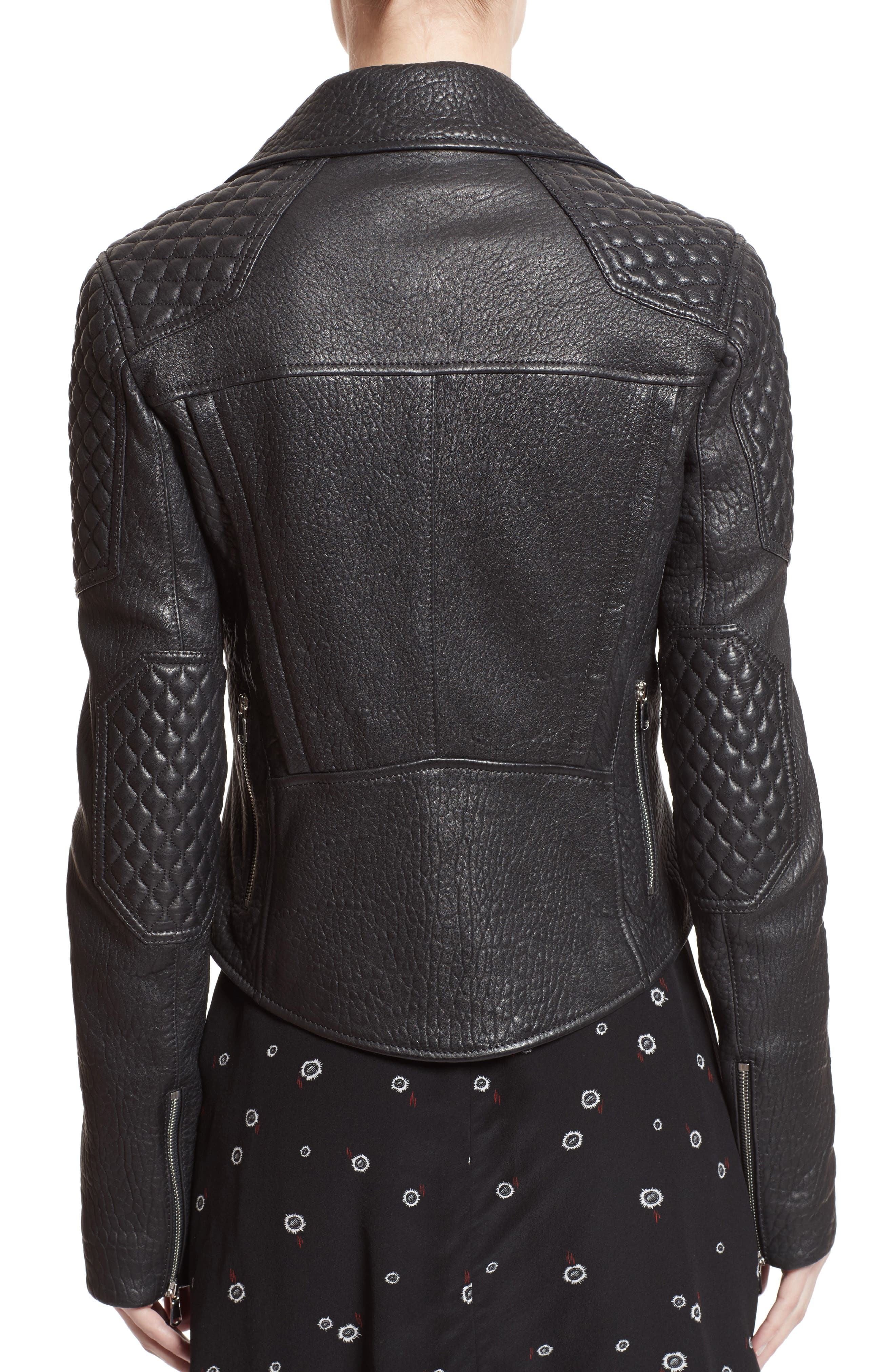 Pebbled Leather Moto Jacket,                             Alternate thumbnail 2, color,                             001