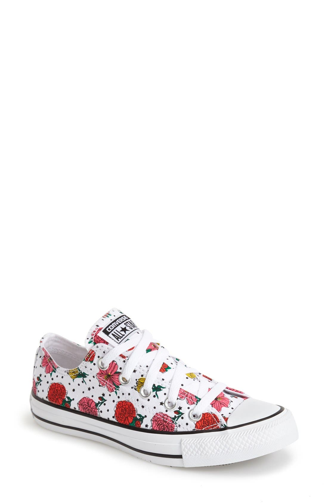 CONVERSE,                             Chuck Taylor<sup>®</sup> All Star<sup>®</sup> Floral Polka Dot Low Top Sneaker,                             Main thumbnail 1, color,                             007