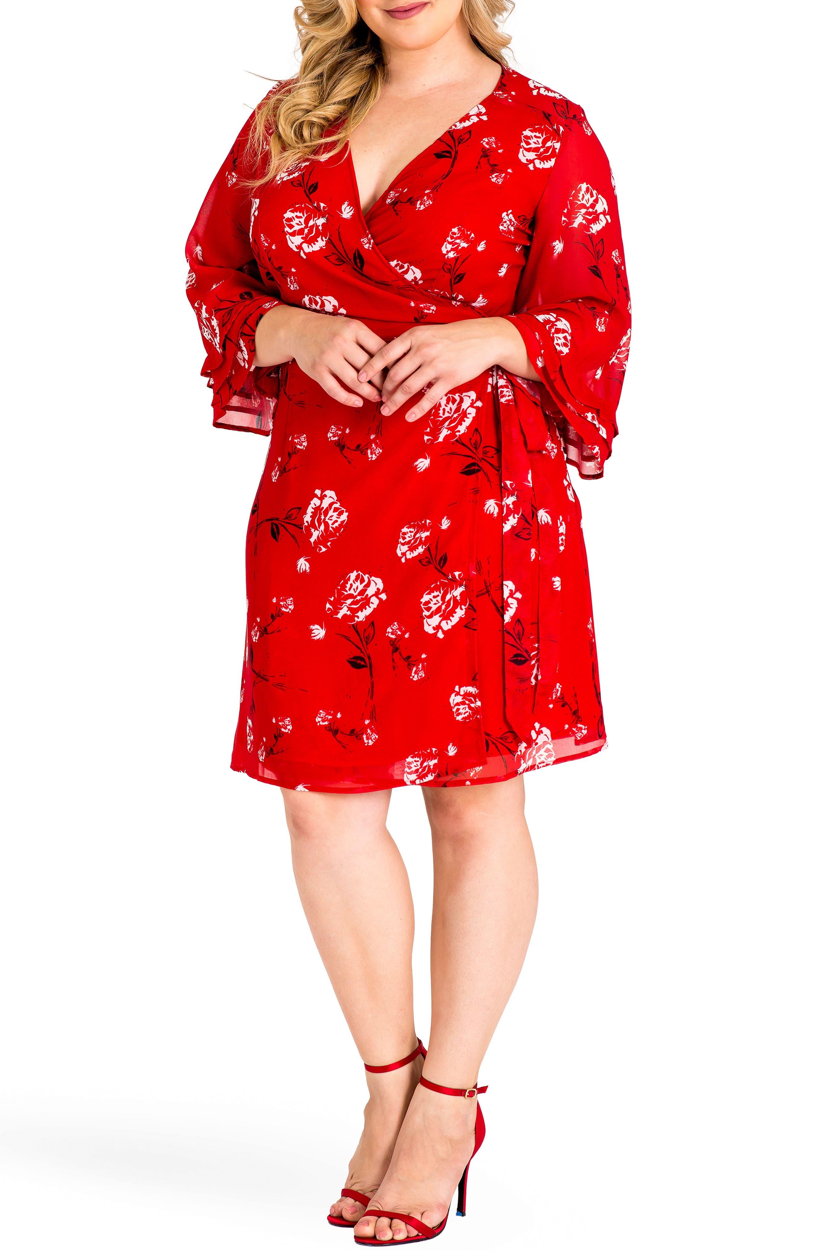 Lulu Wrap Dress,                             Alternate thumbnail 4, color,                             RED TULIP PRINT