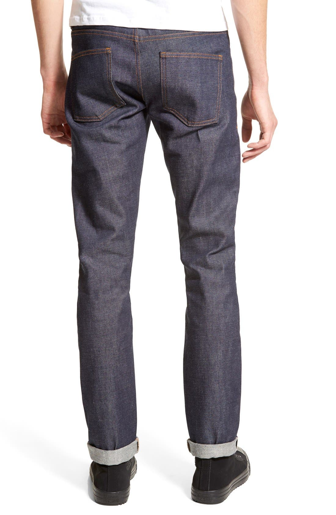 Super Skinny Guy Skinny Fit Selvedge Jeans,                             Alternate thumbnail 2, color,                             INDIGO