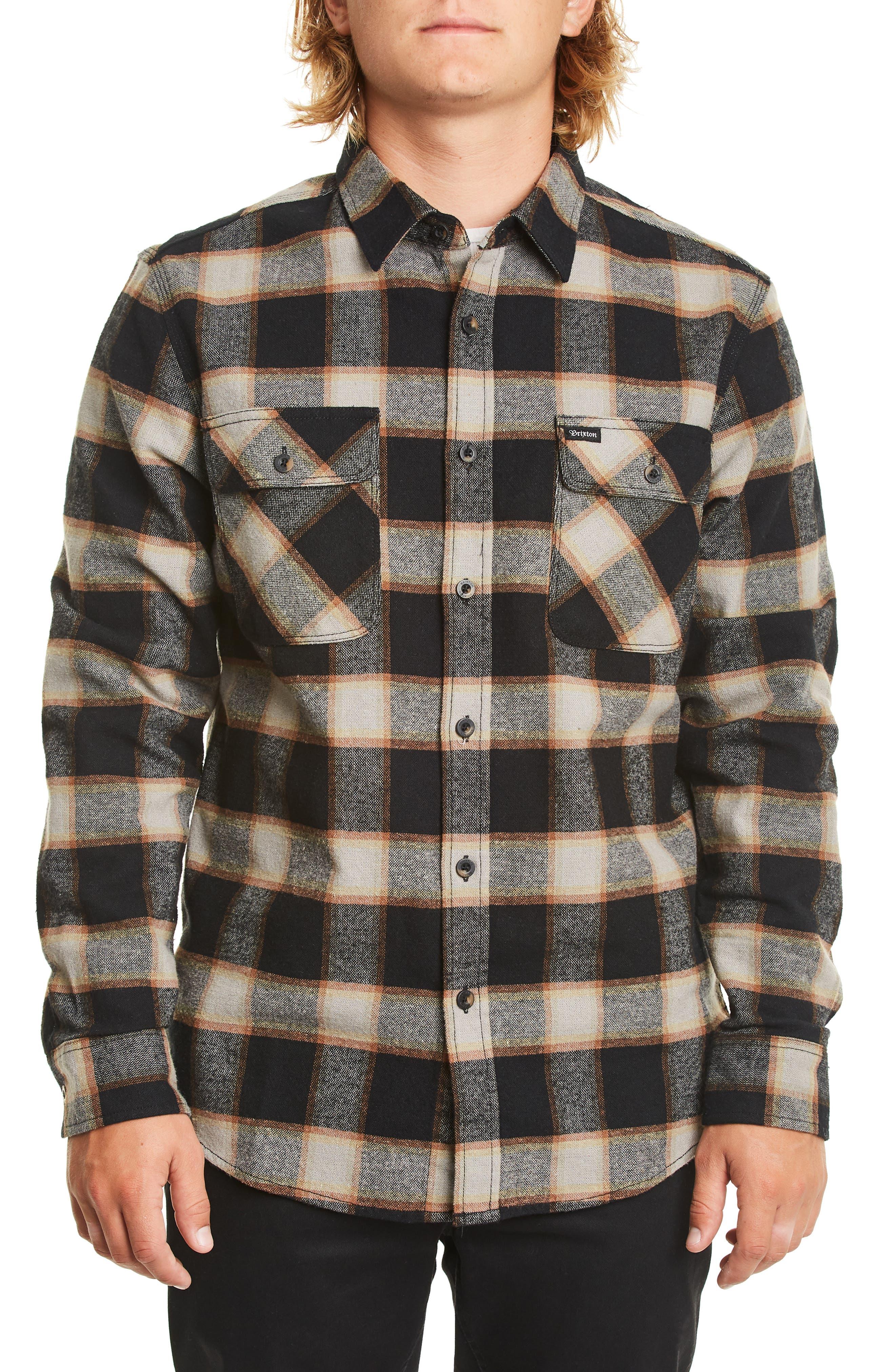 Brixton Bowery Flannel Shirt, Black