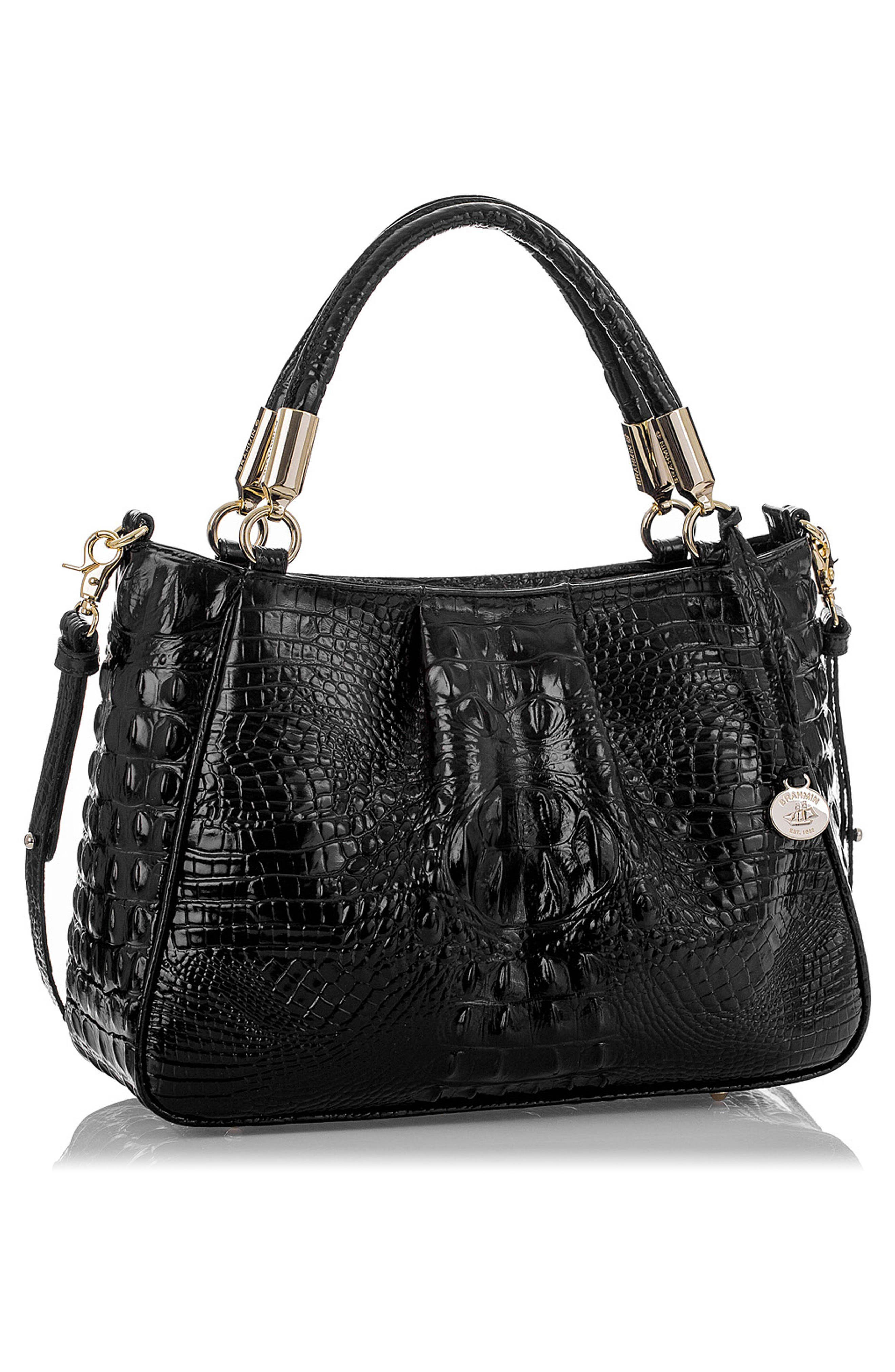 Ruby Croc Embossed Leather Satchel,                             Alternate thumbnail 4, color,                             001