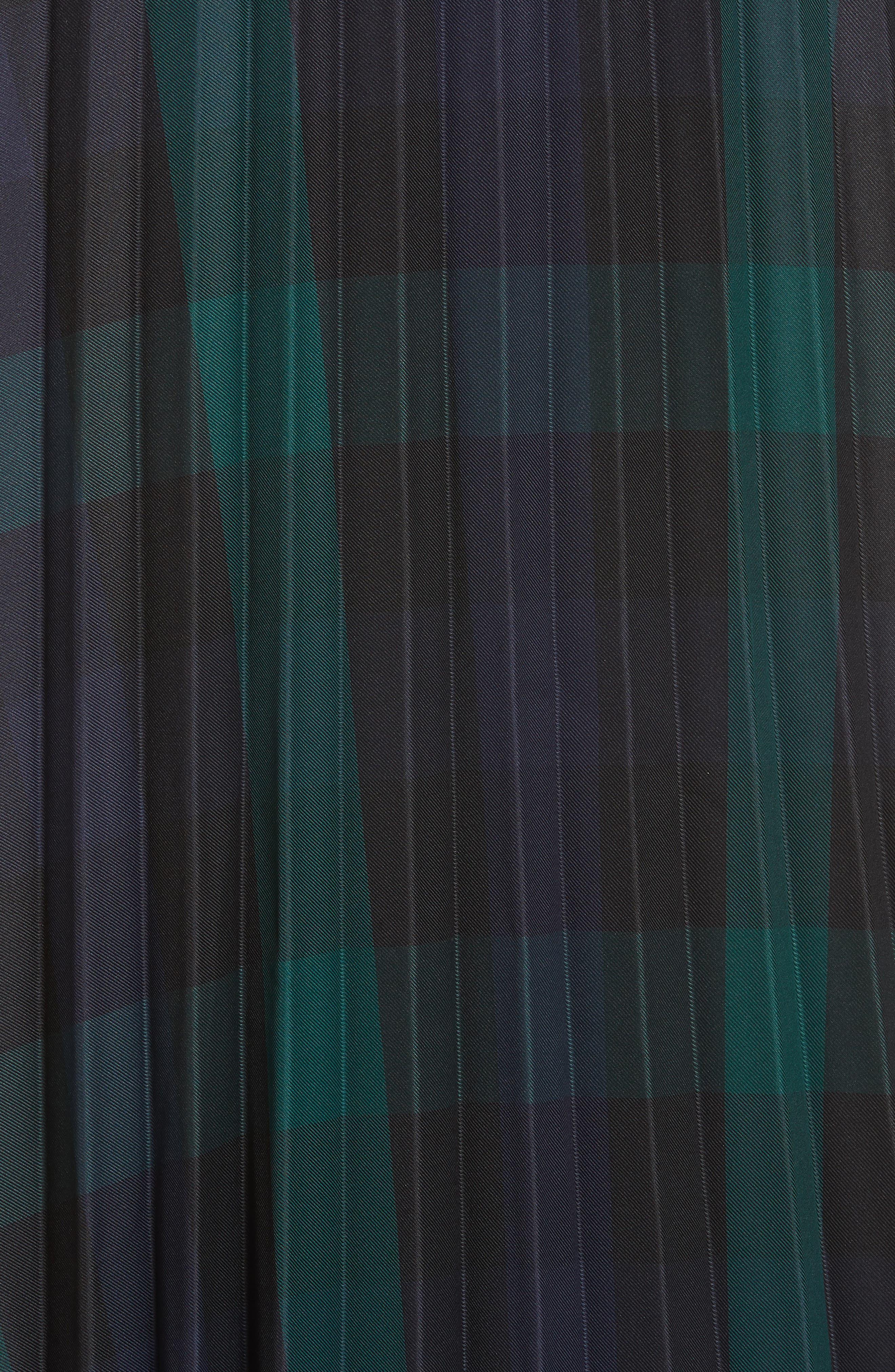 Plaid Pleated Midi Skirt,                             Alternate thumbnail 5, color,                             DEEP NAVY
