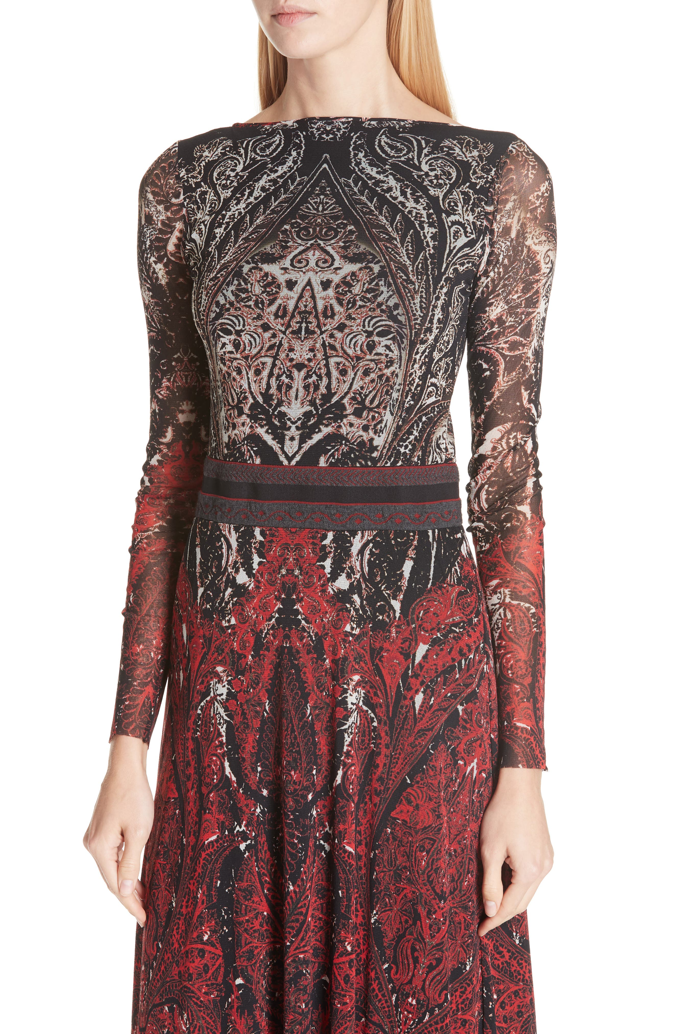 Paisley Tulle Two-Way Dress,                             Alternate thumbnail 3, color,                             ROSSO