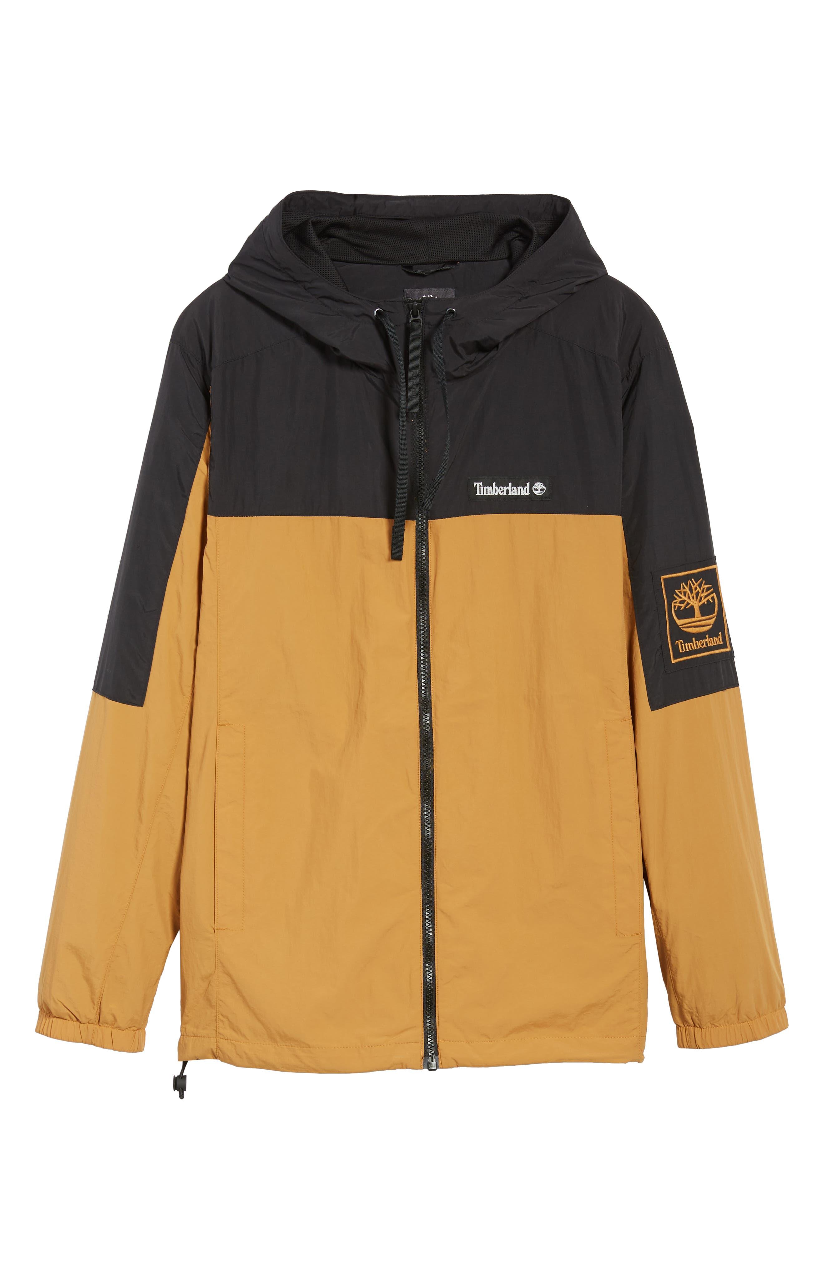 Windbreaker Hooded Jacket,                             Alternate thumbnail 6, color,                             WHEAT BOOT/ BLACK