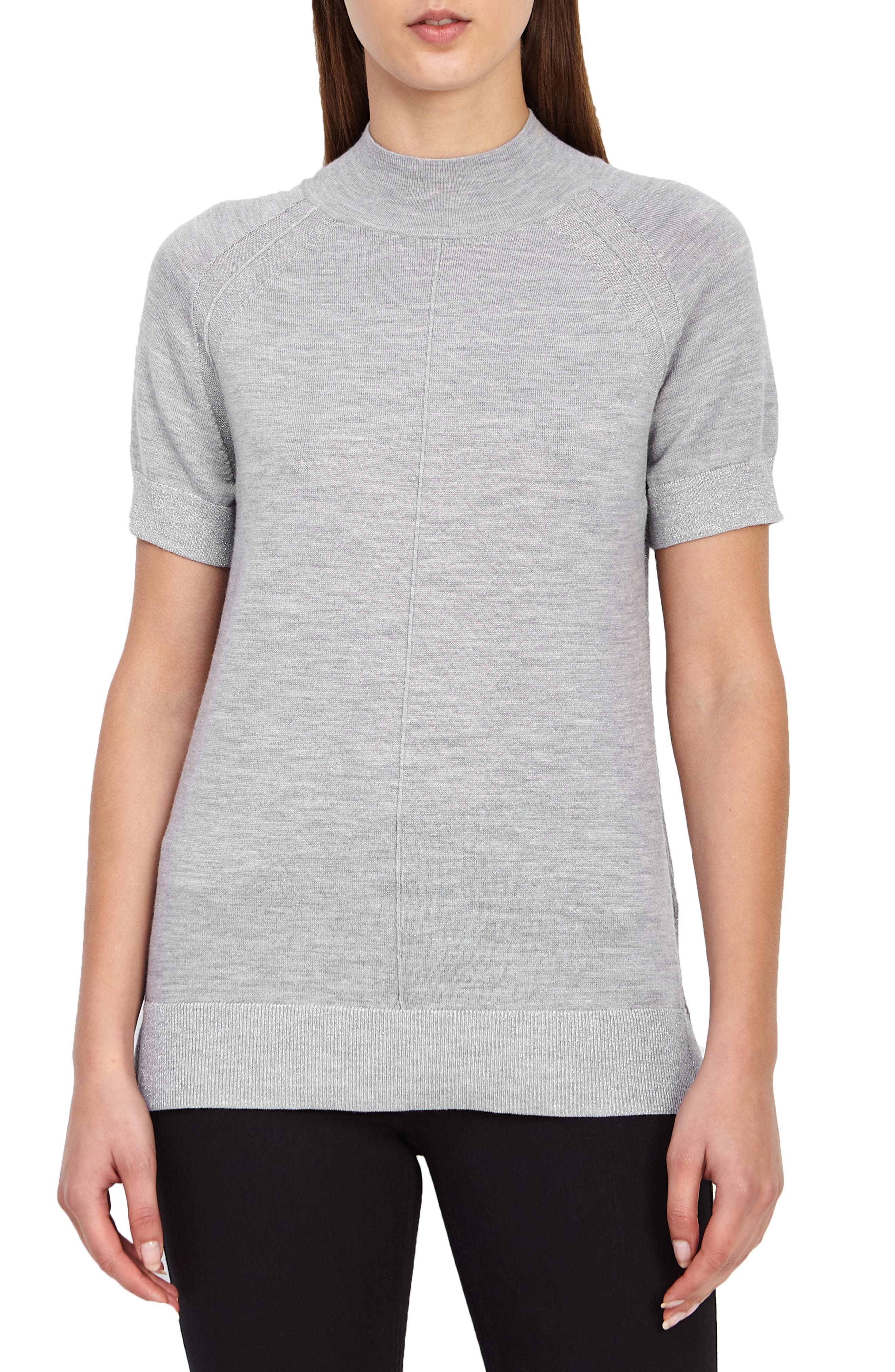REISS Wool Blend Metallic Short Sleeve Sweater in Grey