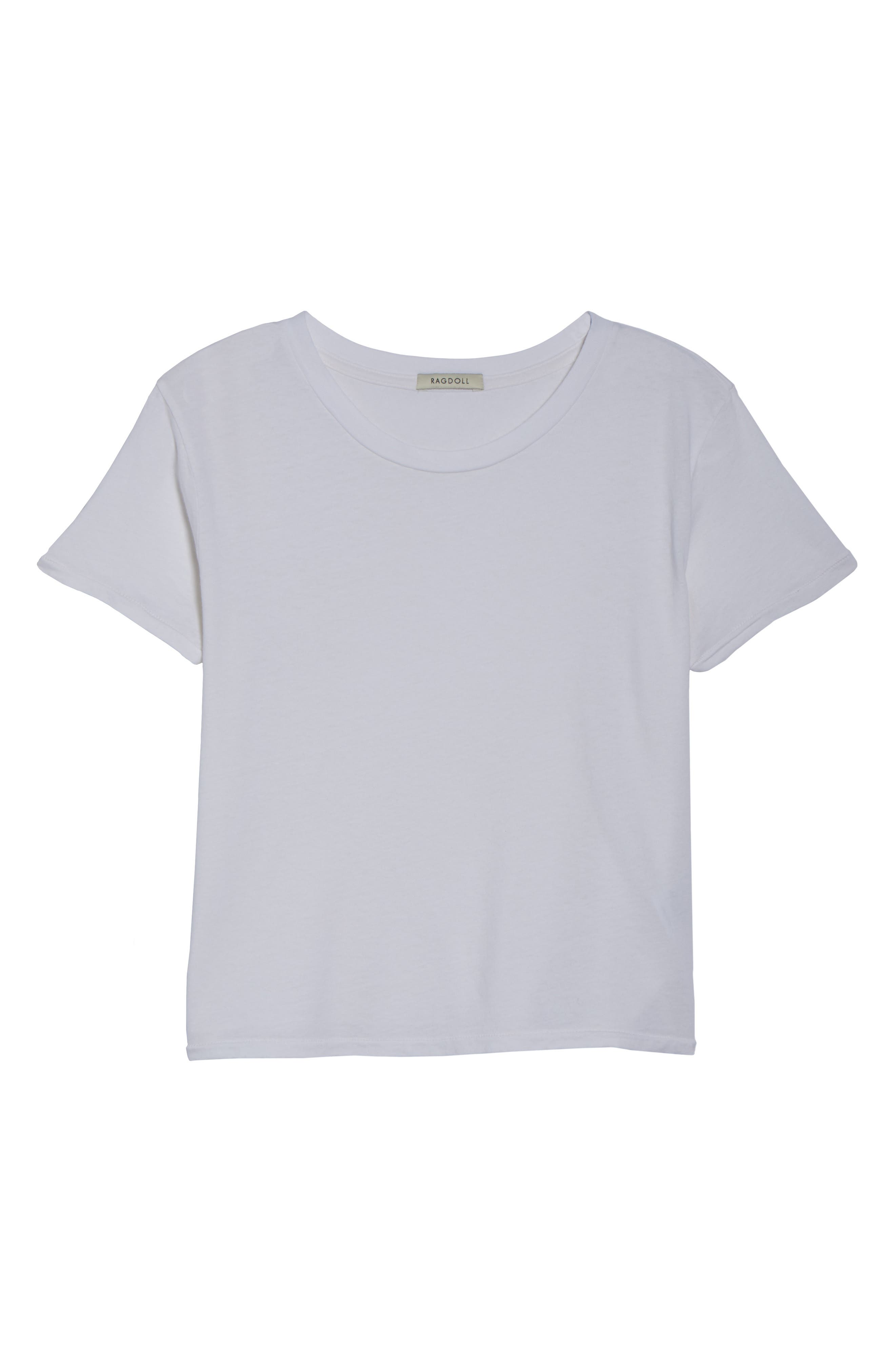 Crop Lounge Tee,                             Alternate thumbnail 6, color,                             100