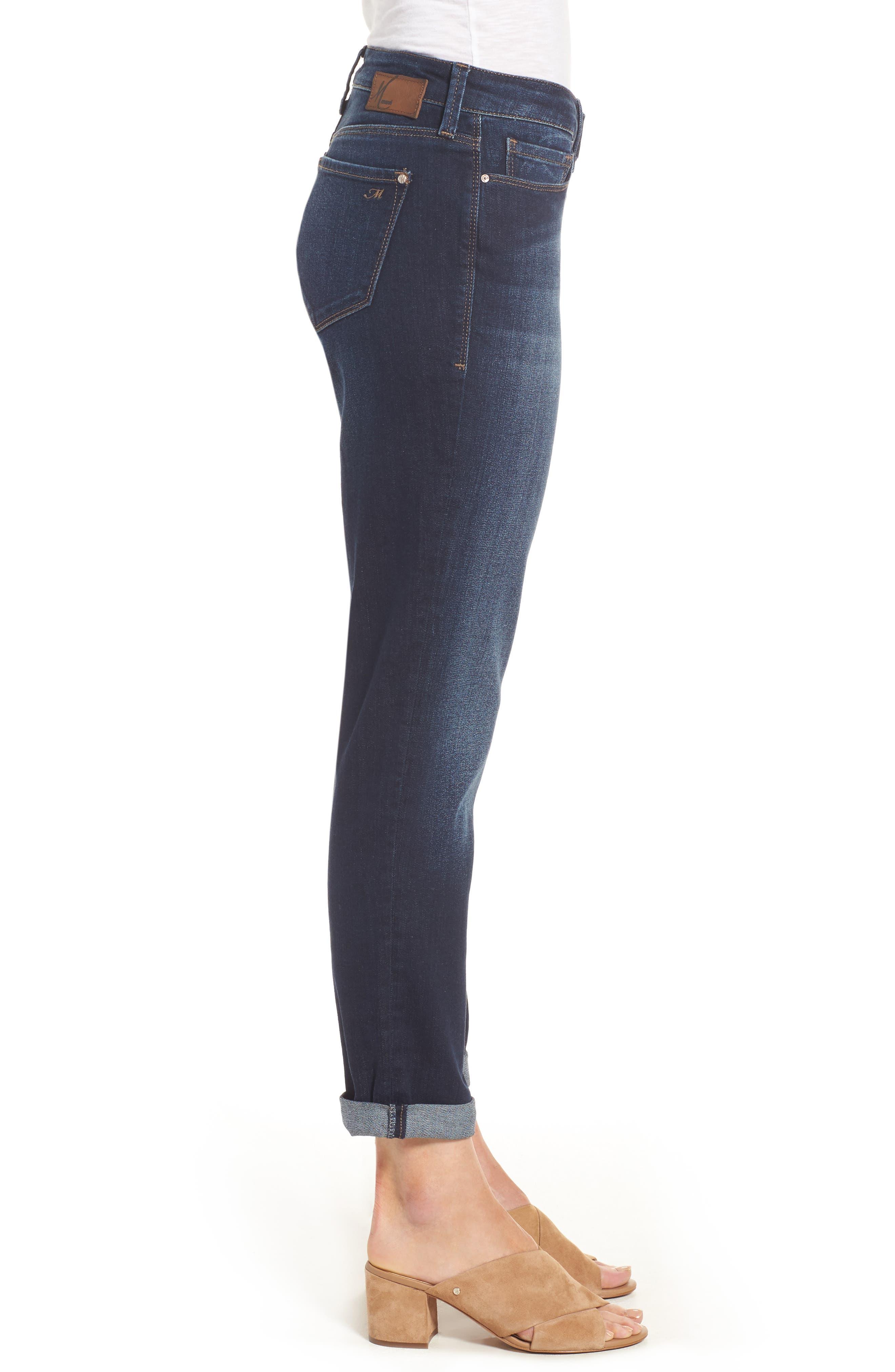 Ada Boyfriend Jeans,                             Alternate thumbnail 3, color,                             INDIGO BRUSHED