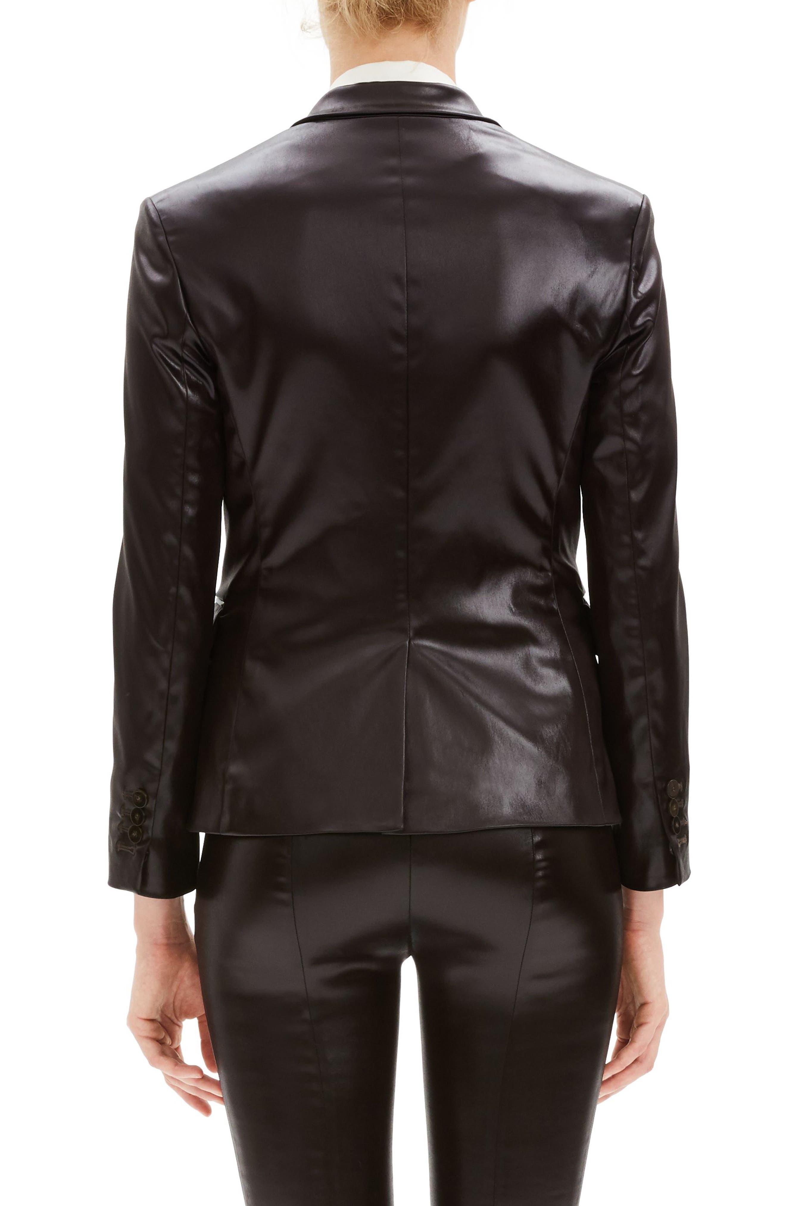 Faux Leather Shrunken Jacket,                             Alternate thumbnail 2, color,                             MINK BROWN