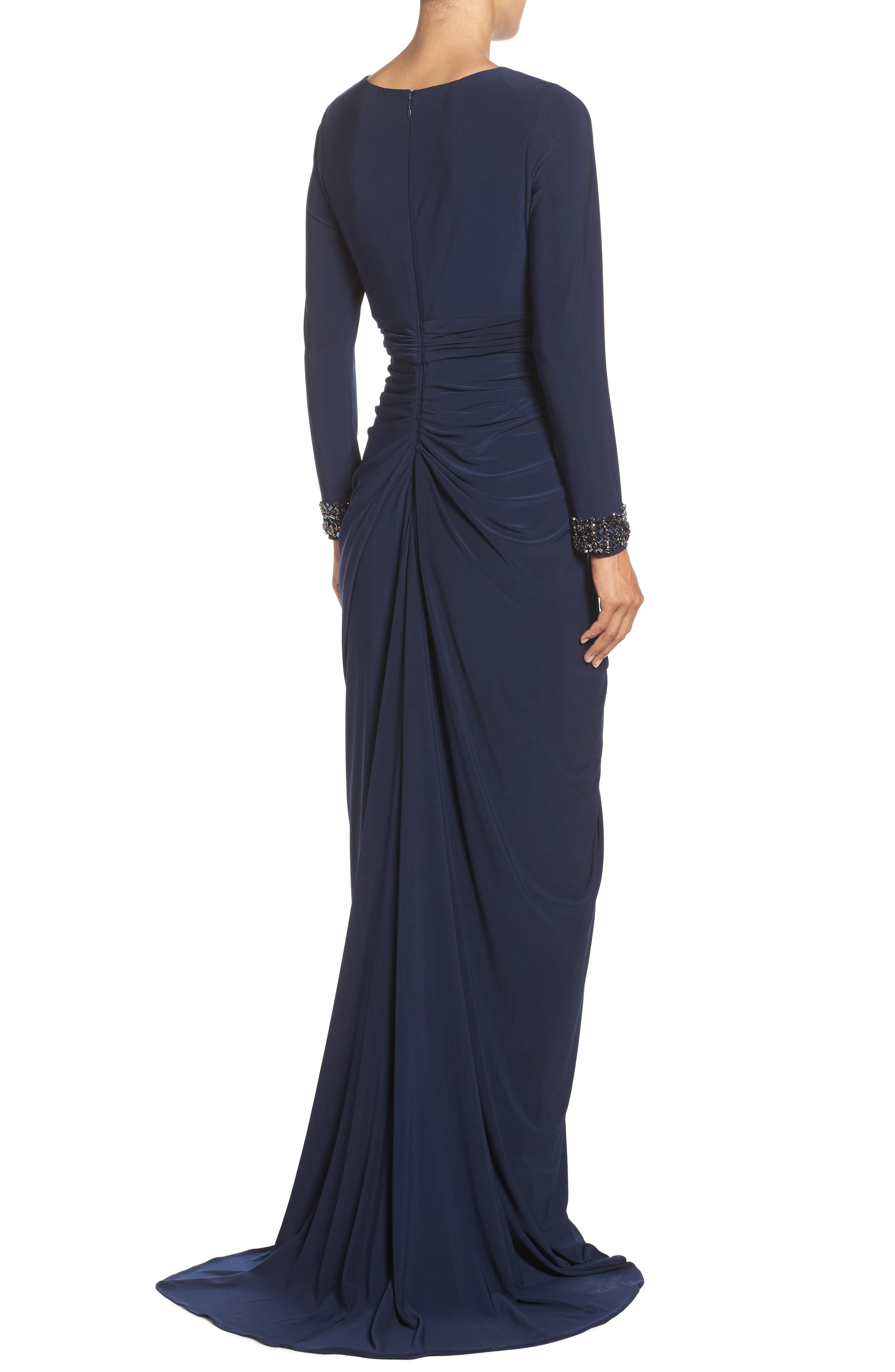 Beaded Jersey Gown,                             Alternate thumbnail 5, color,
