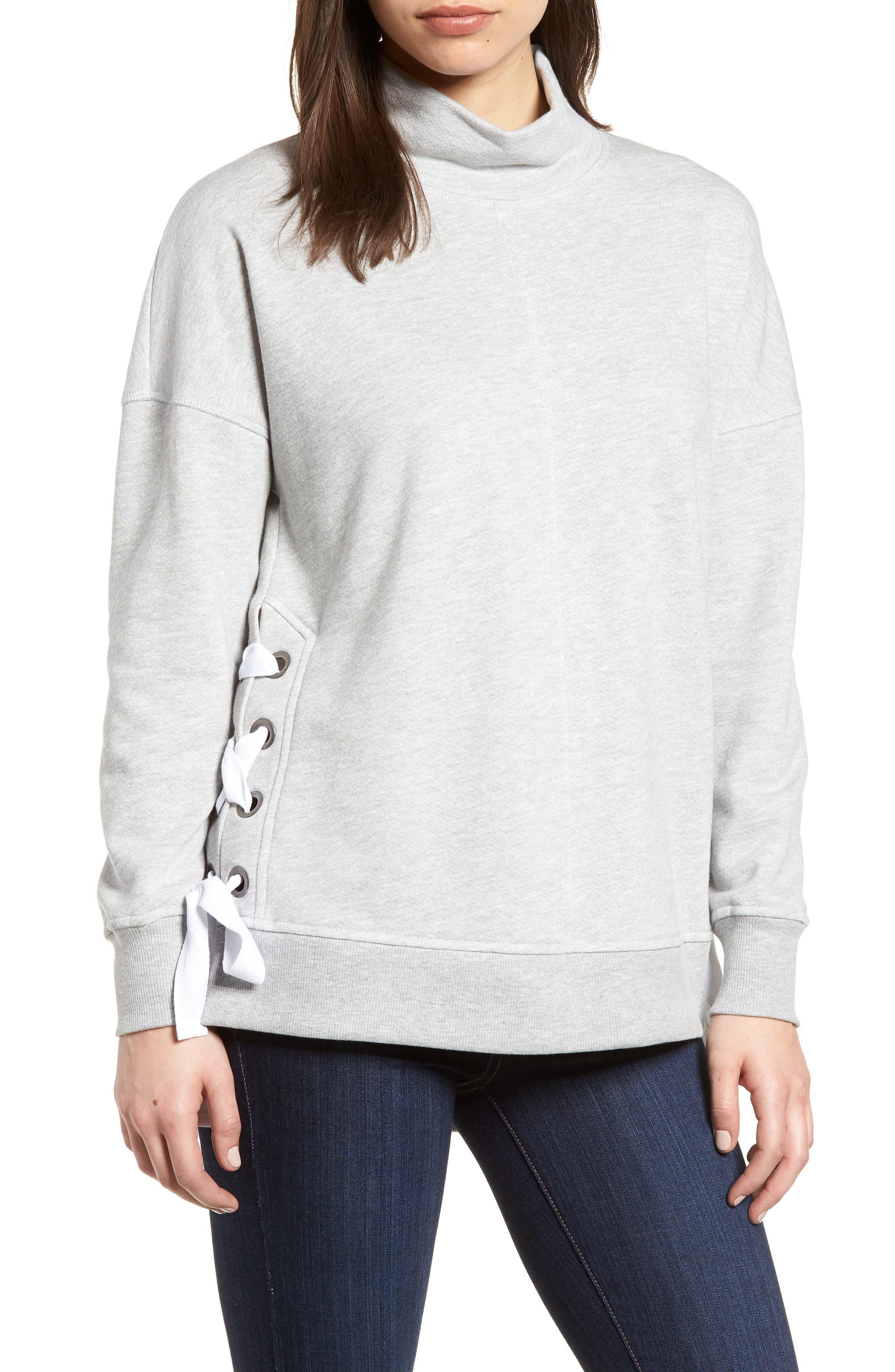 Side Tie High Neck Sweatshirt, Main, color, 055