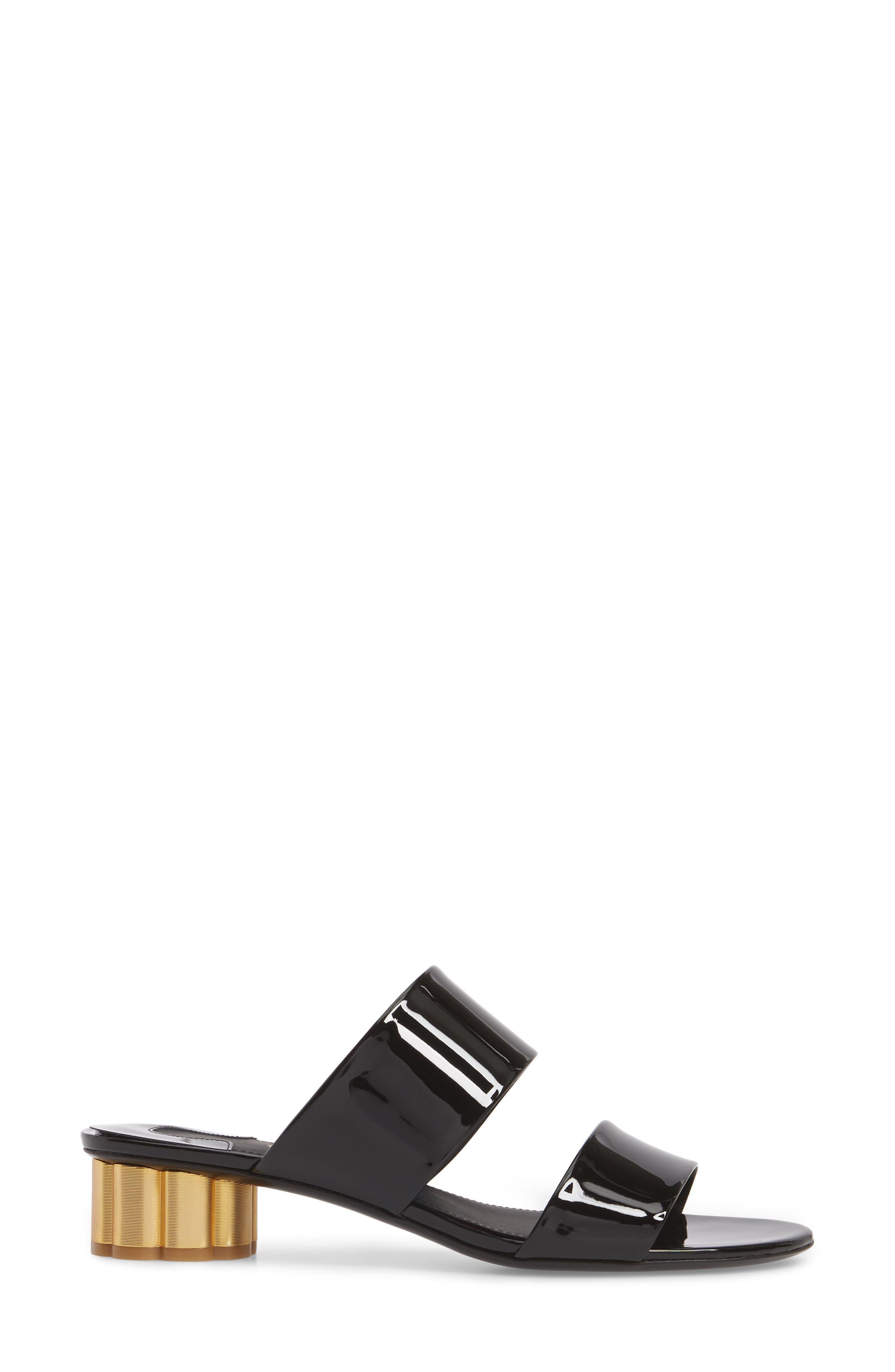 SALVATORE FERRAGAMO,                             Belluno Double Band Slide Sandal,                             Alternate thumbnail 3, color,                             BLACK PATENT LEATHER