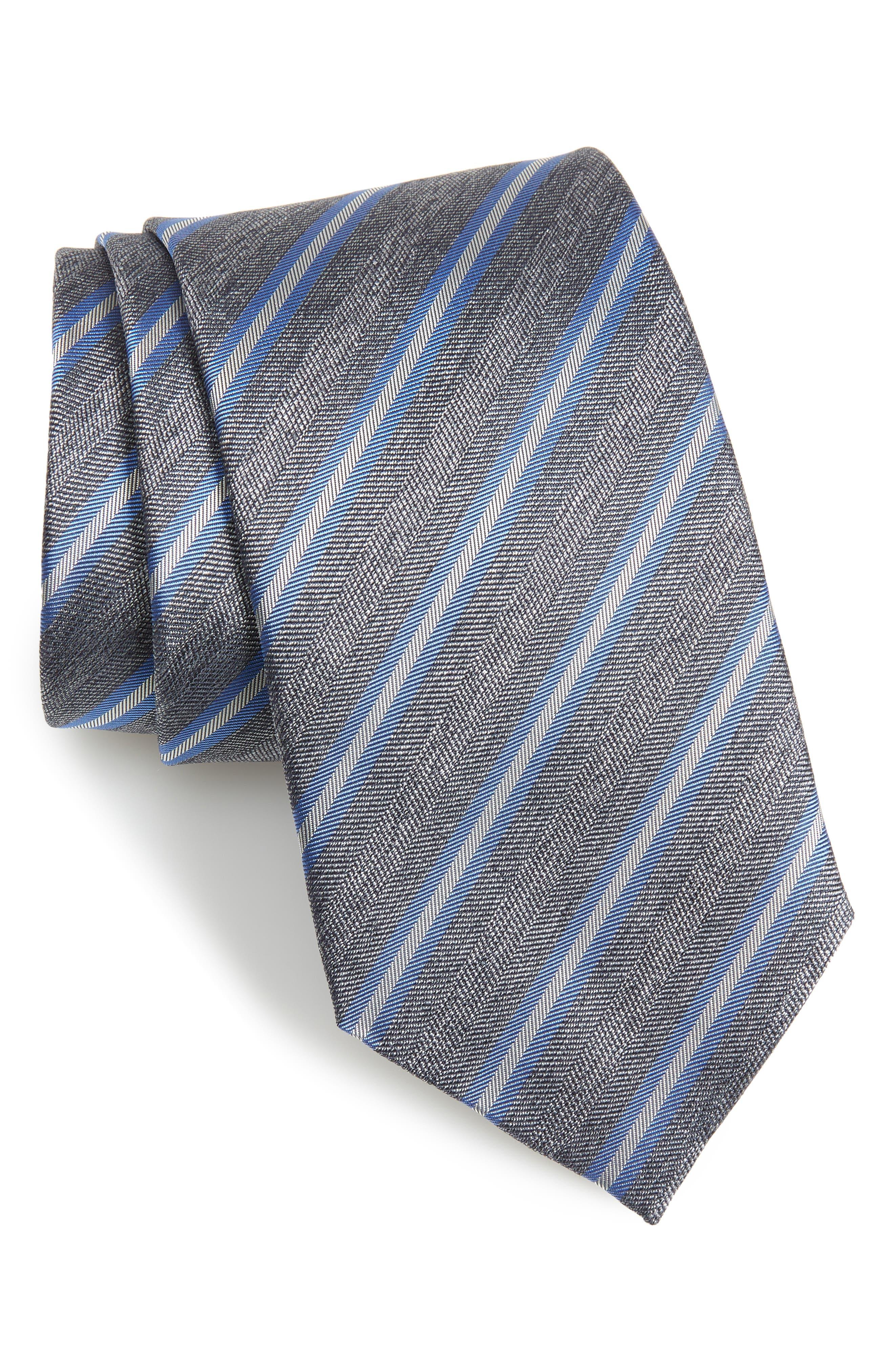 DAVID DONAHUE,                             Stripe Silk & Cotton Tie,                             Main thumbnail 1, color,                             020