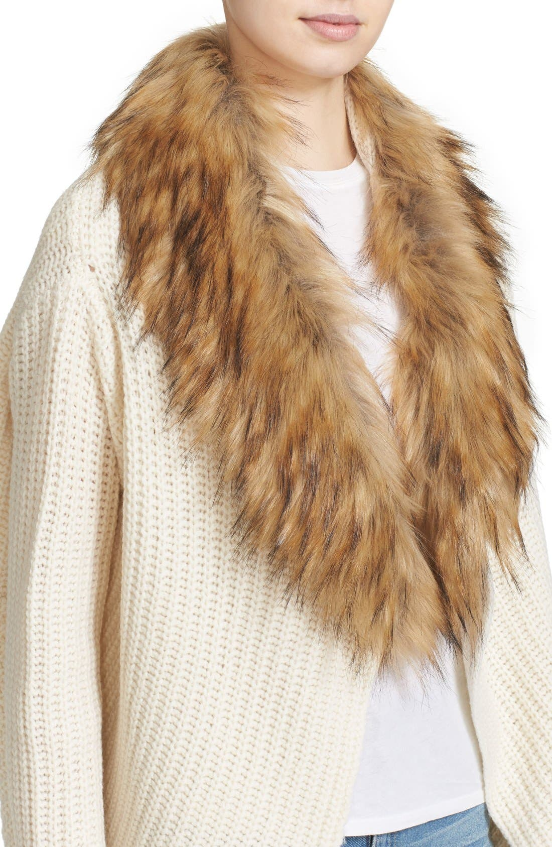 'Helma' Wool & Yak Cardigan with Faux Fur Collar,                             Alternate thumbnail 2, color,                             120