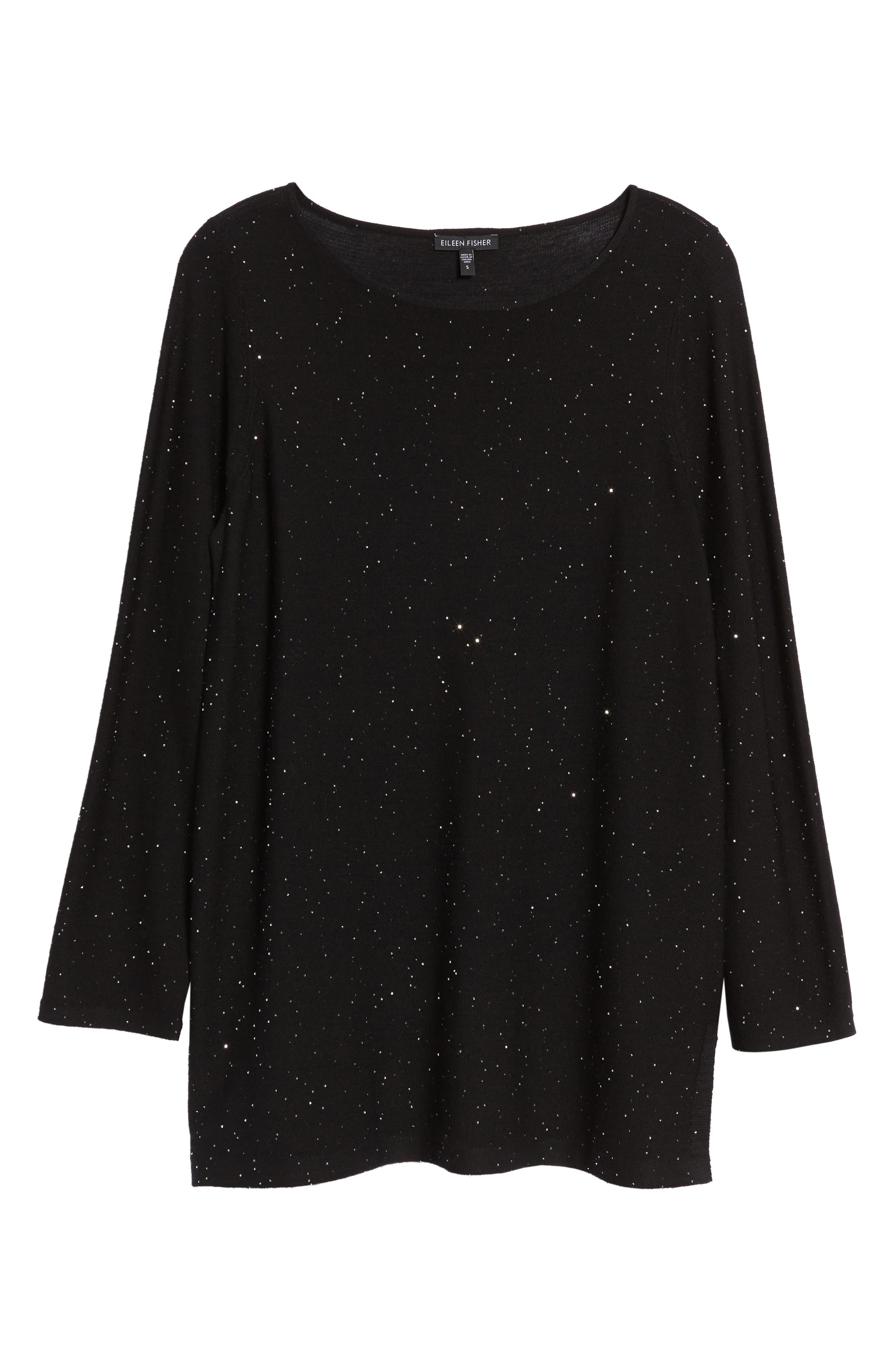 Sequin Merino Wool Sweater,                             Alternate thumbnail 6, color,                             001
