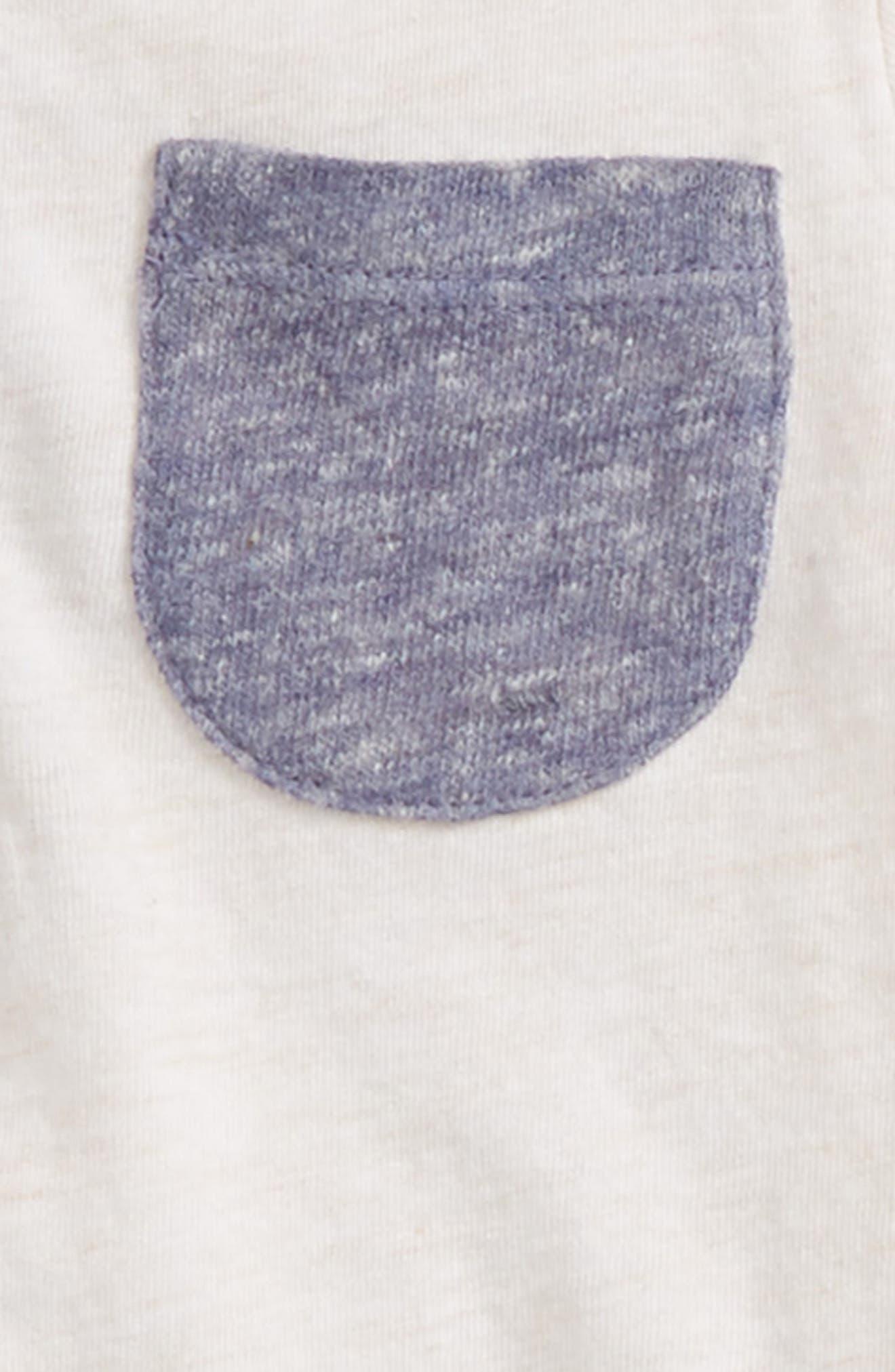 Hooded Henley T-Shirt & Stripe Pants Set,                             Alternate thumbnail 2, color,                             IVORY EGRET HEATHER- NAVY