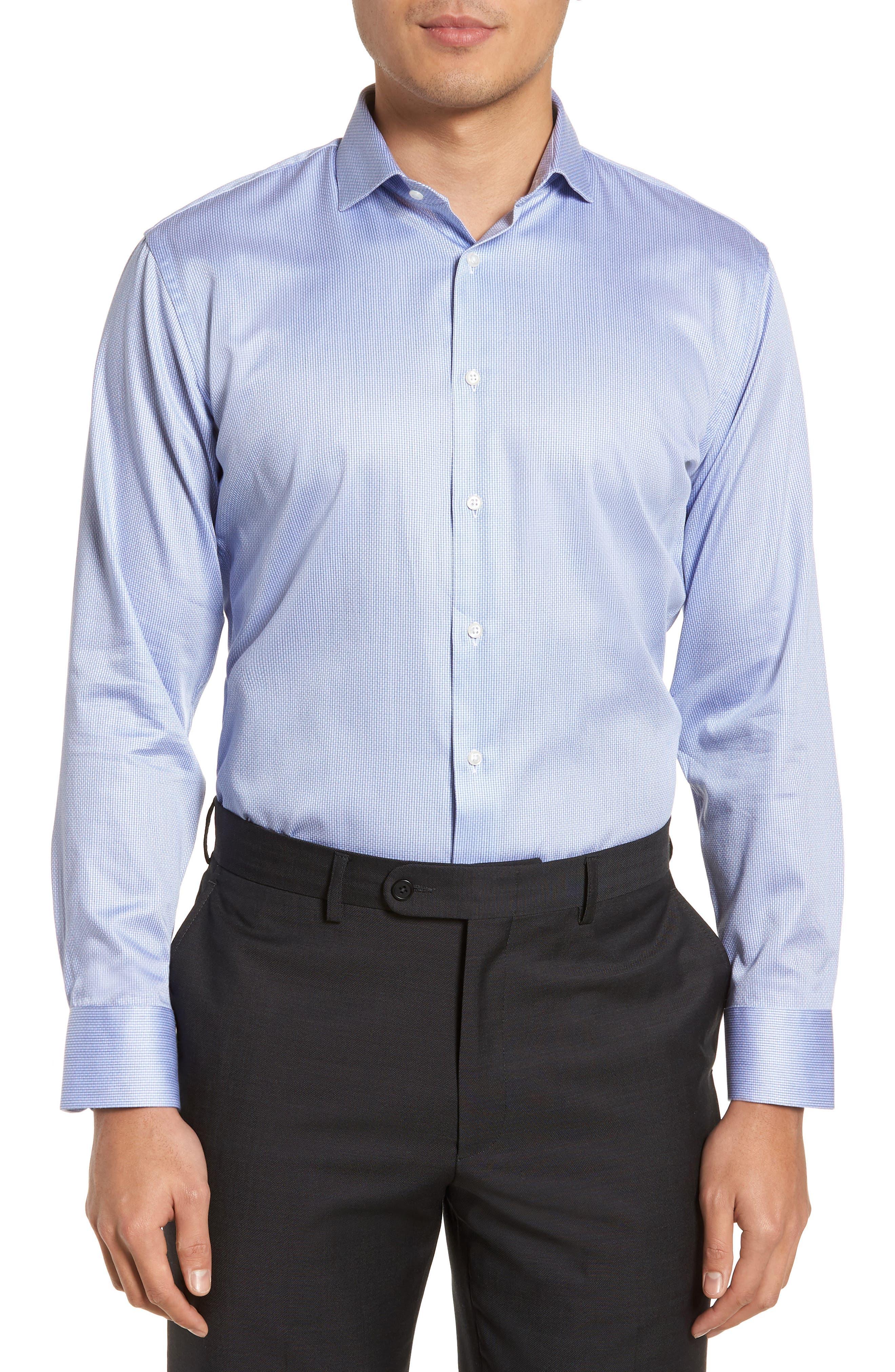 Trim Fit Stripe Dress Shirt,                             Main thumbnail 2, color,