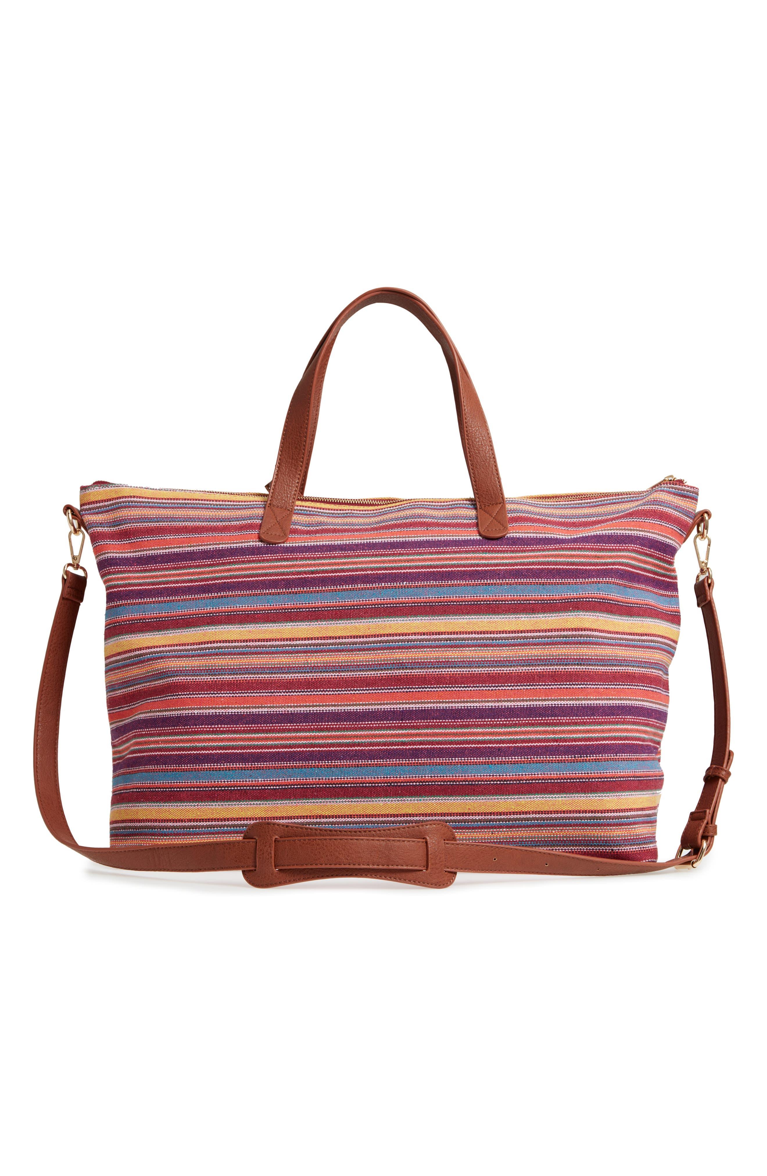 Stripe Woven Overnight Bag,                             Alternate thumbnail 3, color,                             500