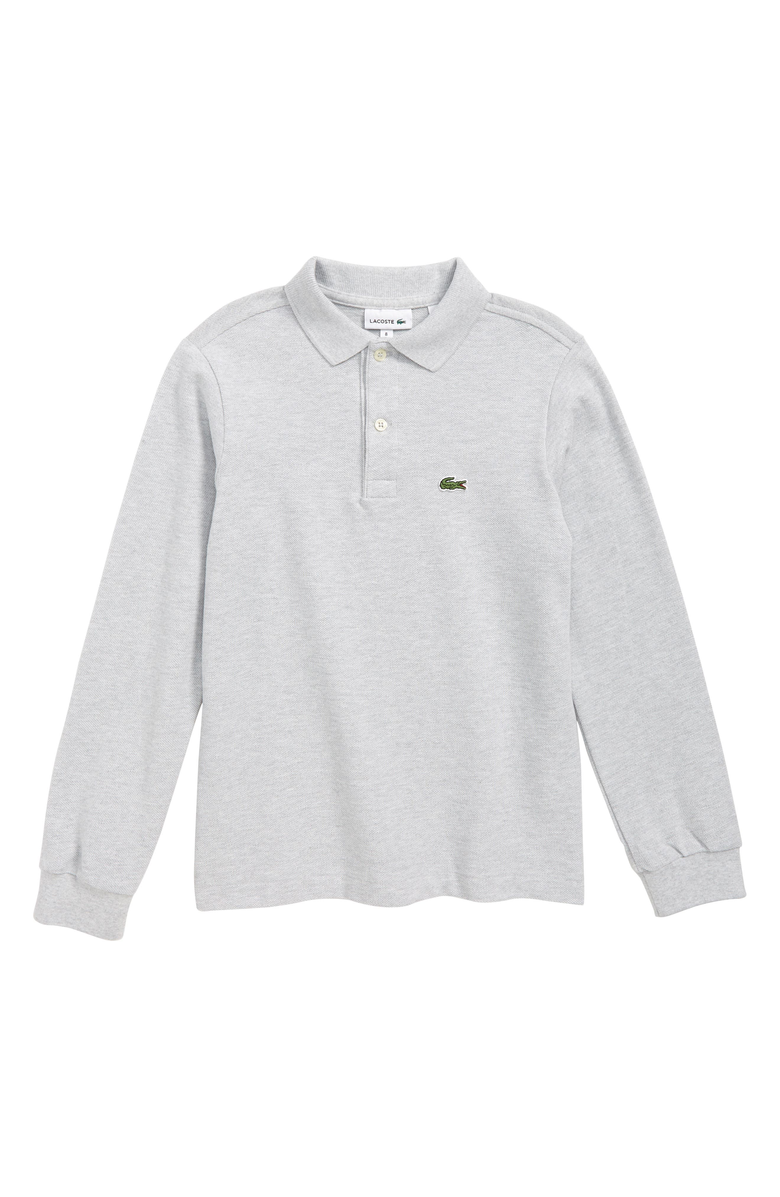 Solid Long Sleeve Polo,                         Main,                         color, SILVER GREY