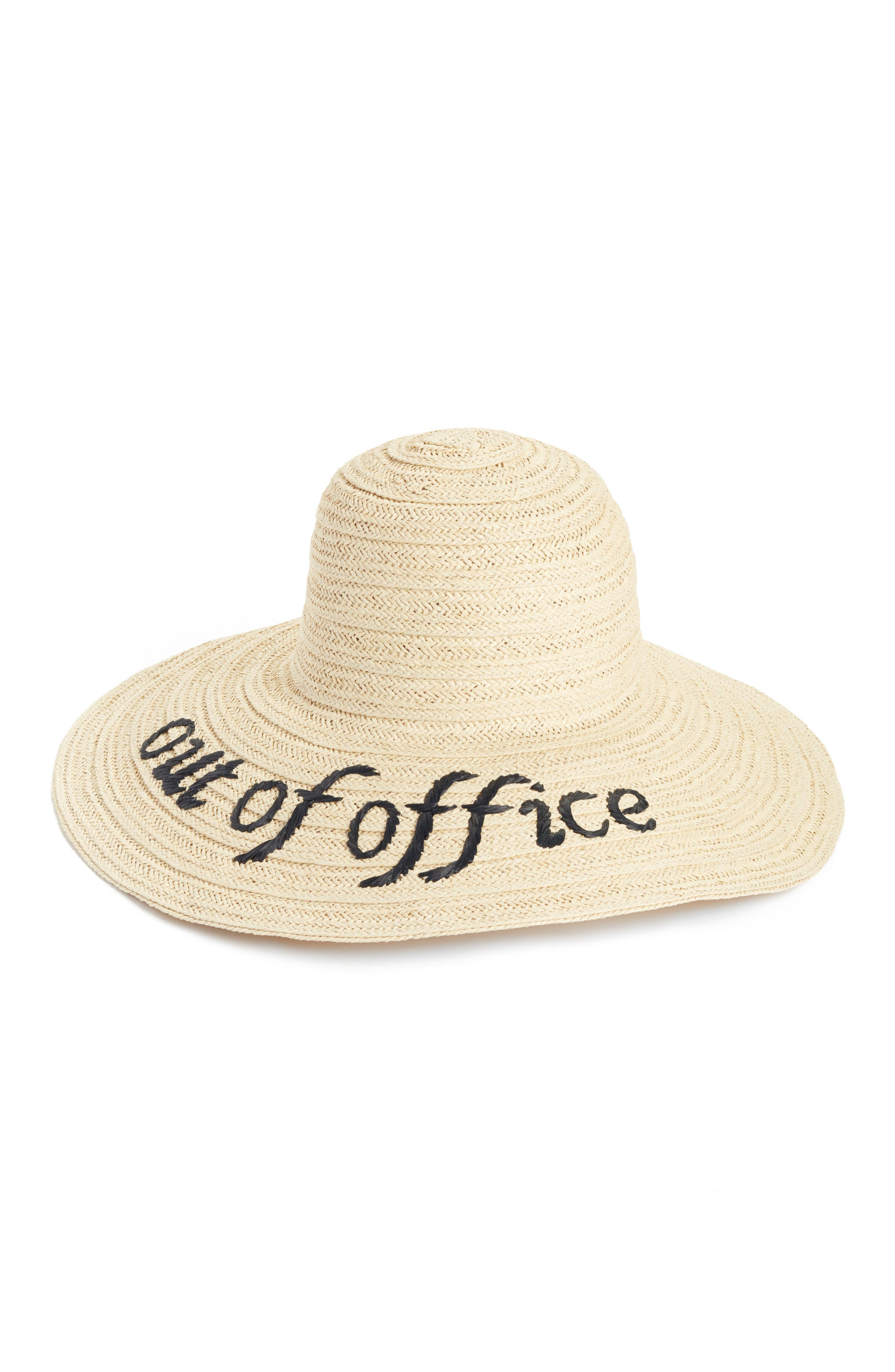 Wordplay Floppy Straw Sun Hat,                             Main thumbnail 1, color,                             001