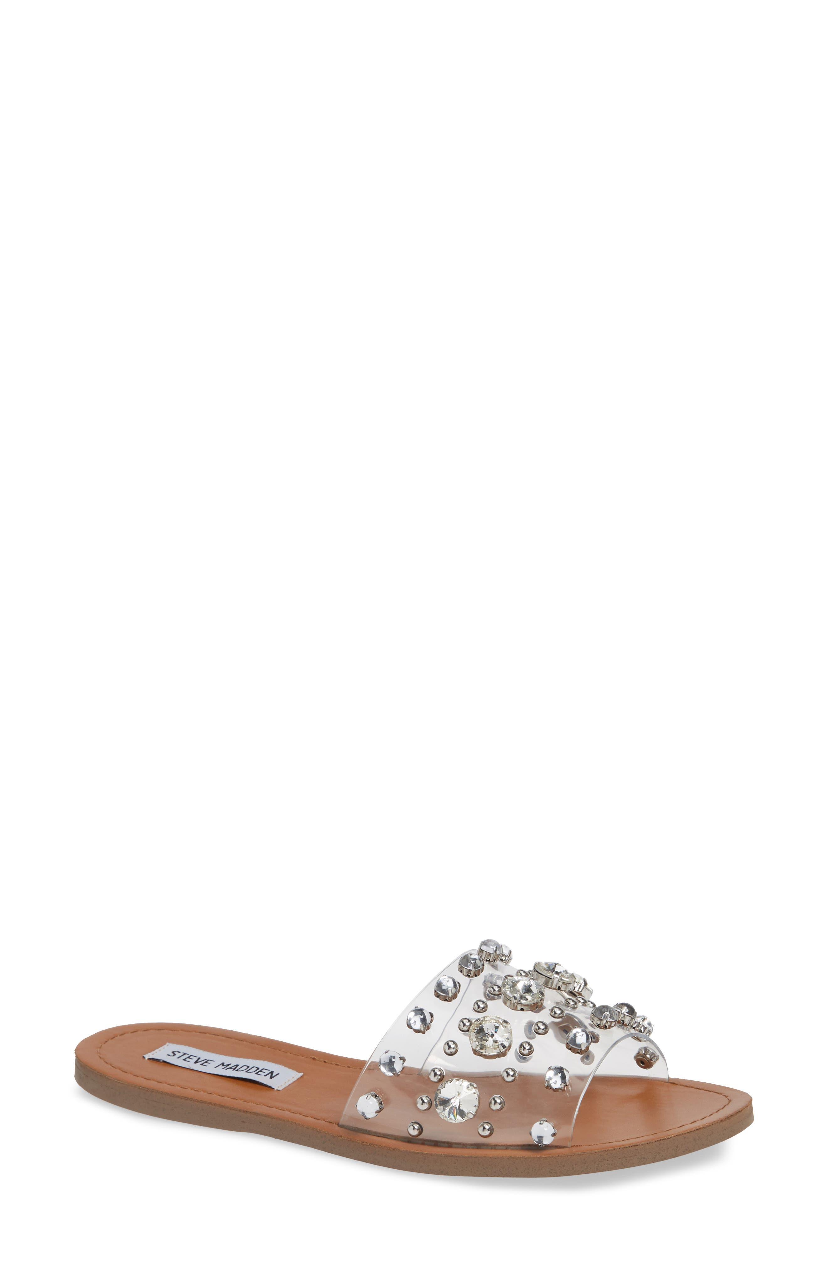 Regent Embellished Slide Sandal,                             Main thumbnail 1, color,                             CLEAR
