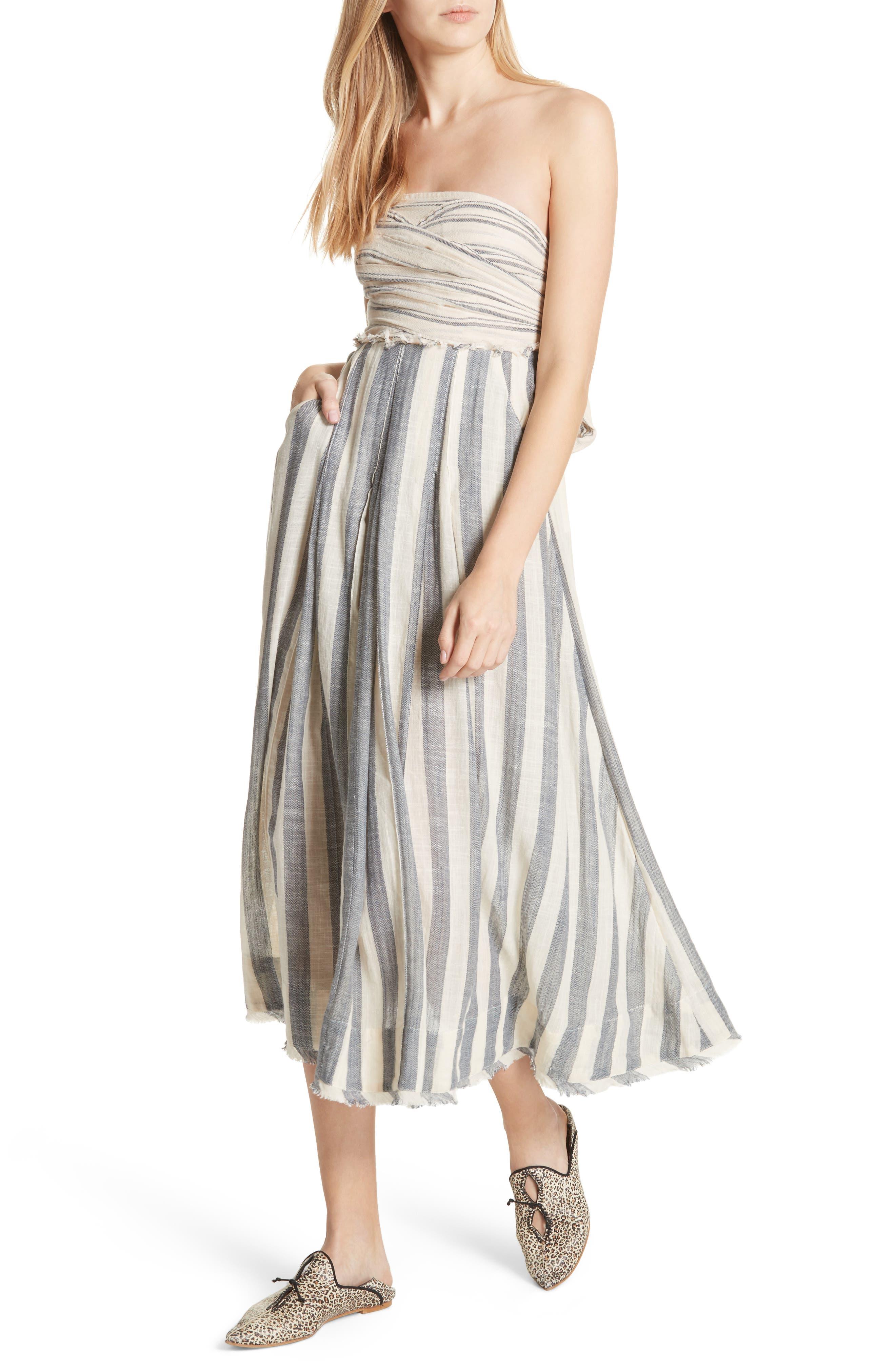 Stripe Me Up Strapless Midi Dress,                             Main thumbnail 1, color,                             400