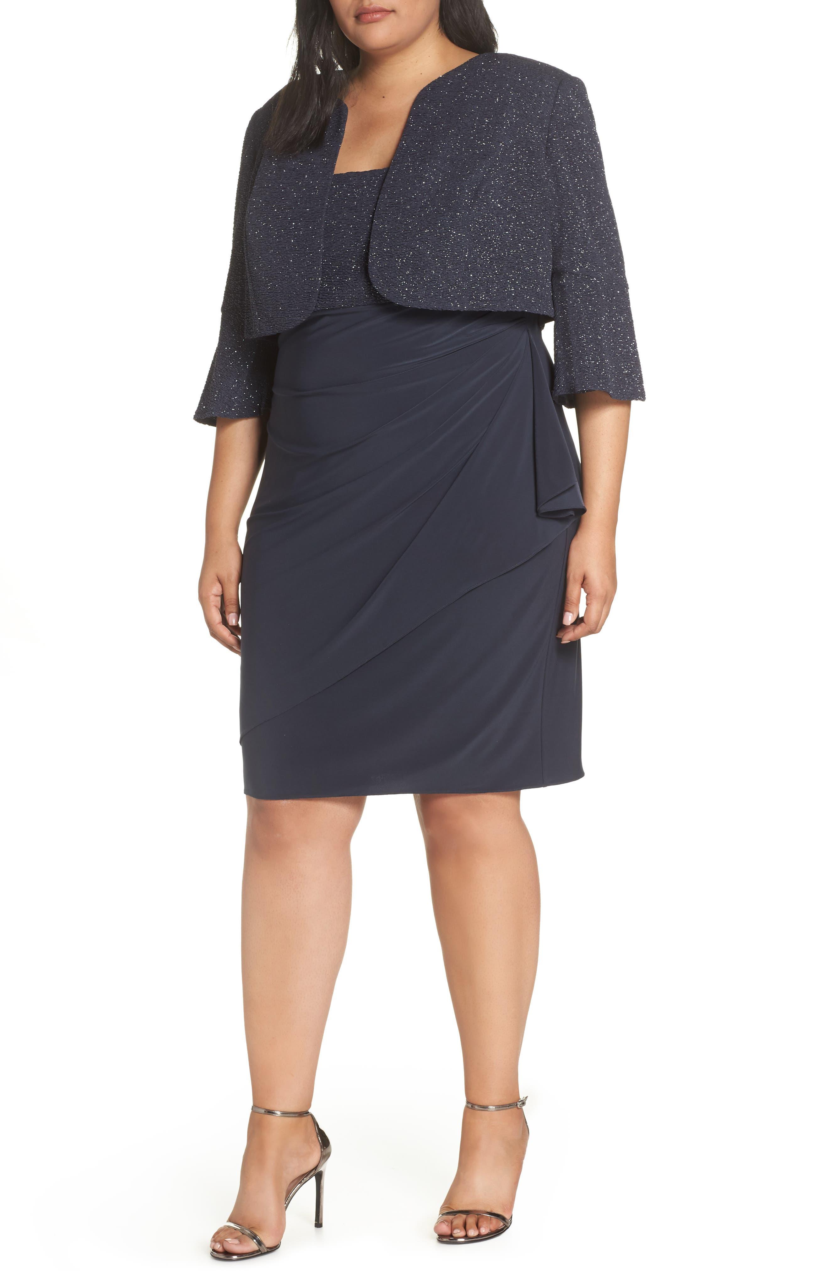 Plus Size Alex Evenings Bolero Jacket Dress, Grey