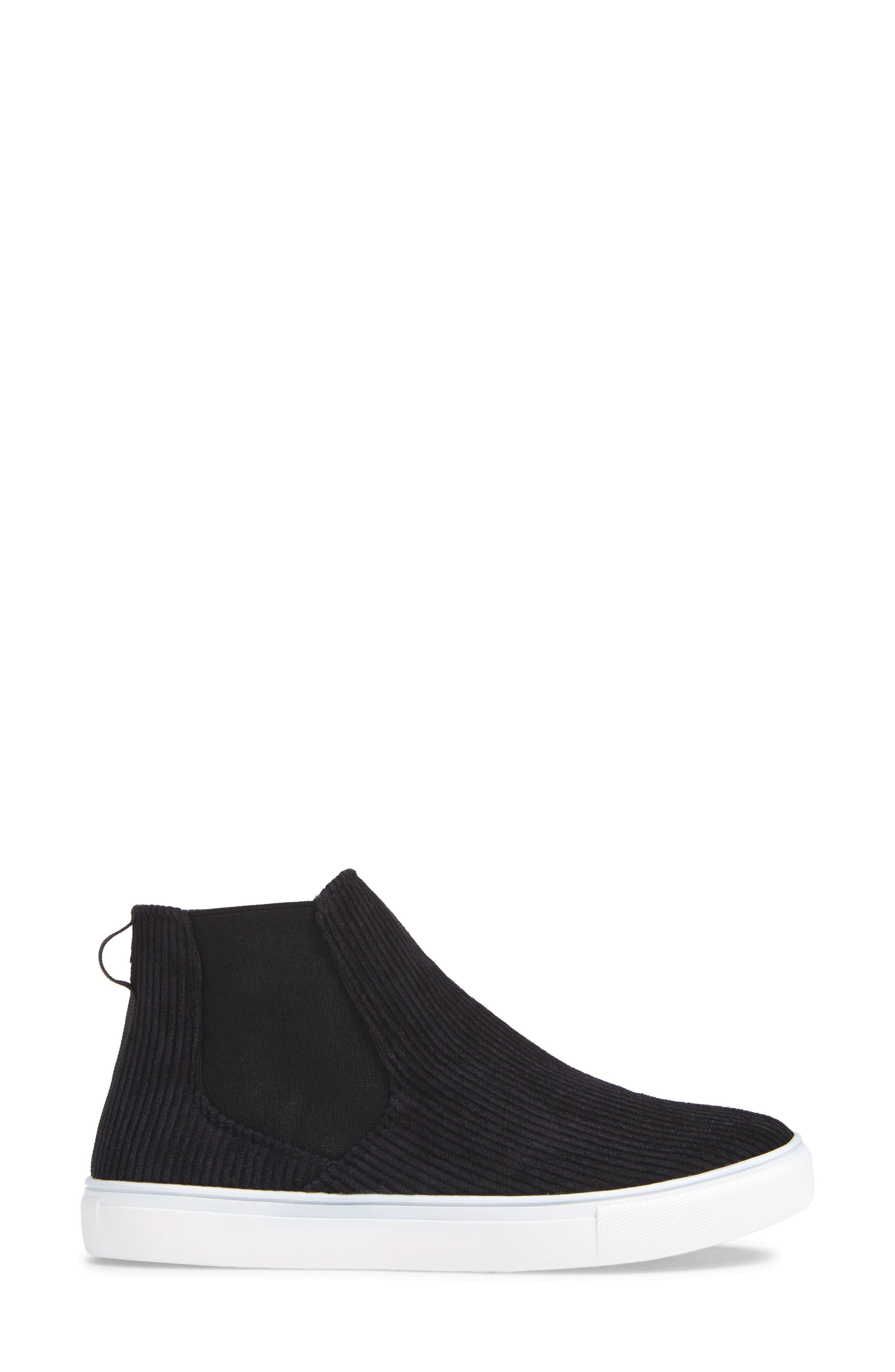 Stratford High Top Sneaker,                             Alternate thumbnail 3, color,                             BLACK FABRIC