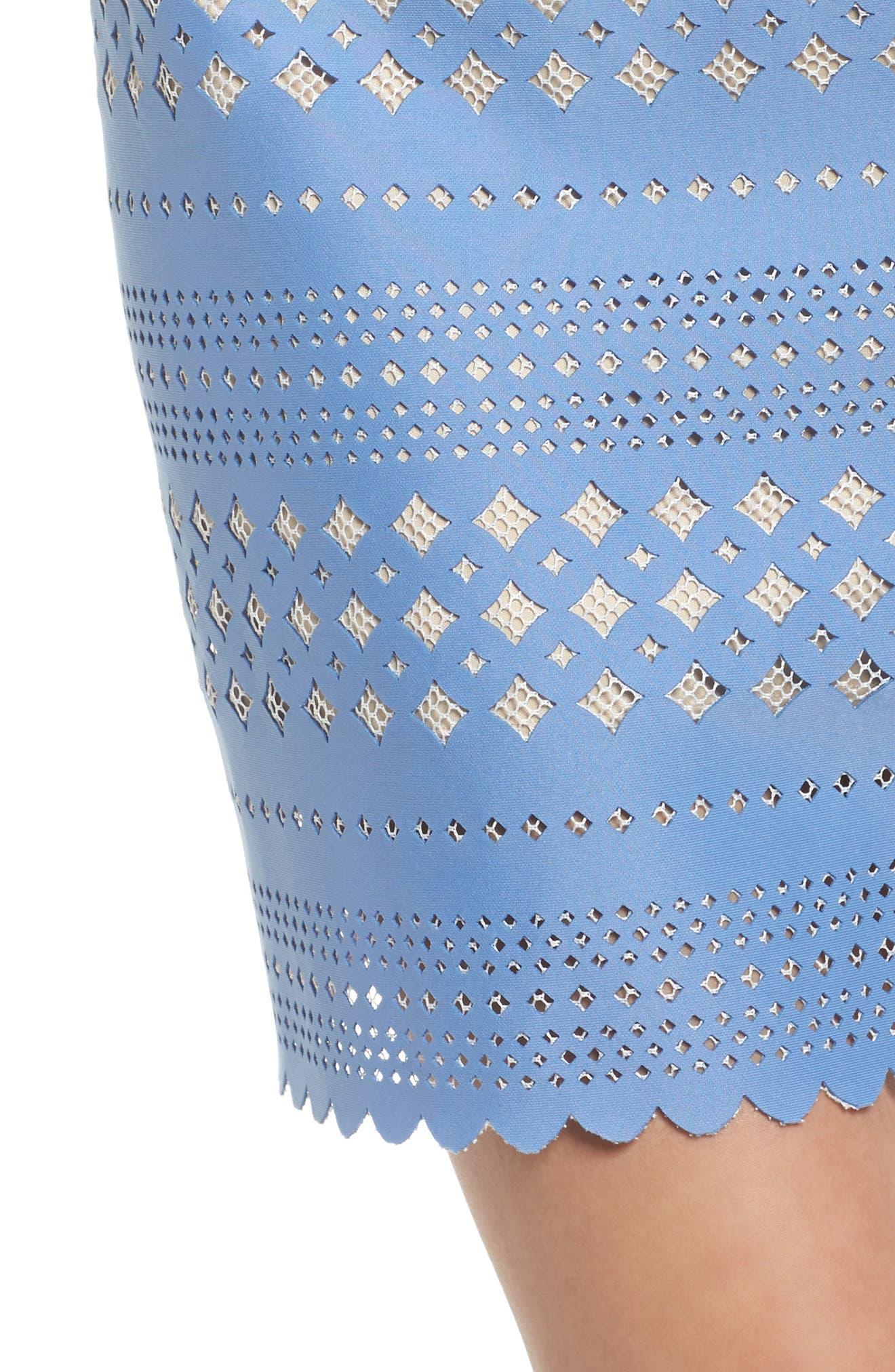 Laser Cut Sheath Dress,                             Alternate thumbnail 4, color,                             453