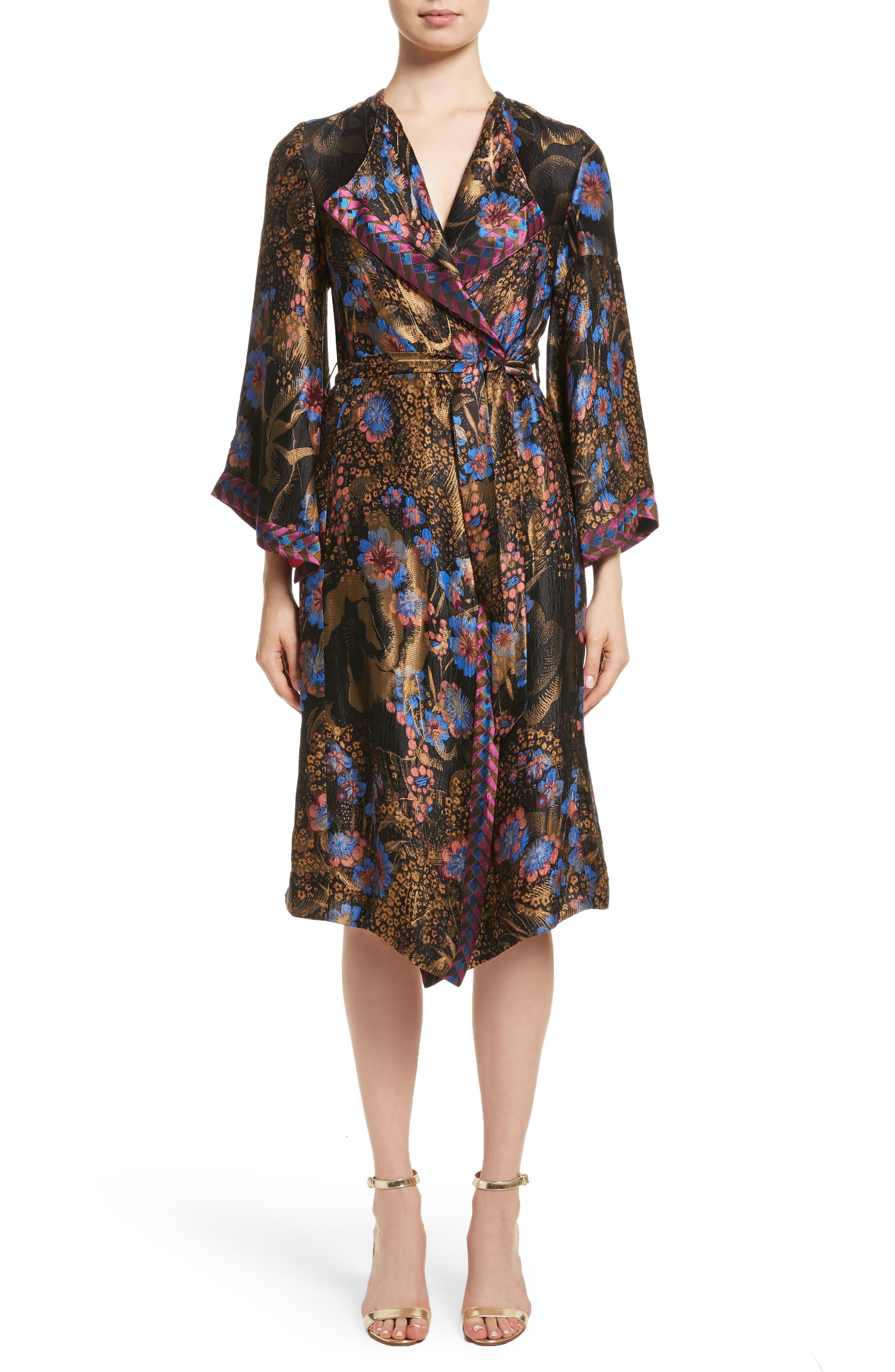 Metallic Floral Silk Blend Topper,                         Main,                         color, 001
