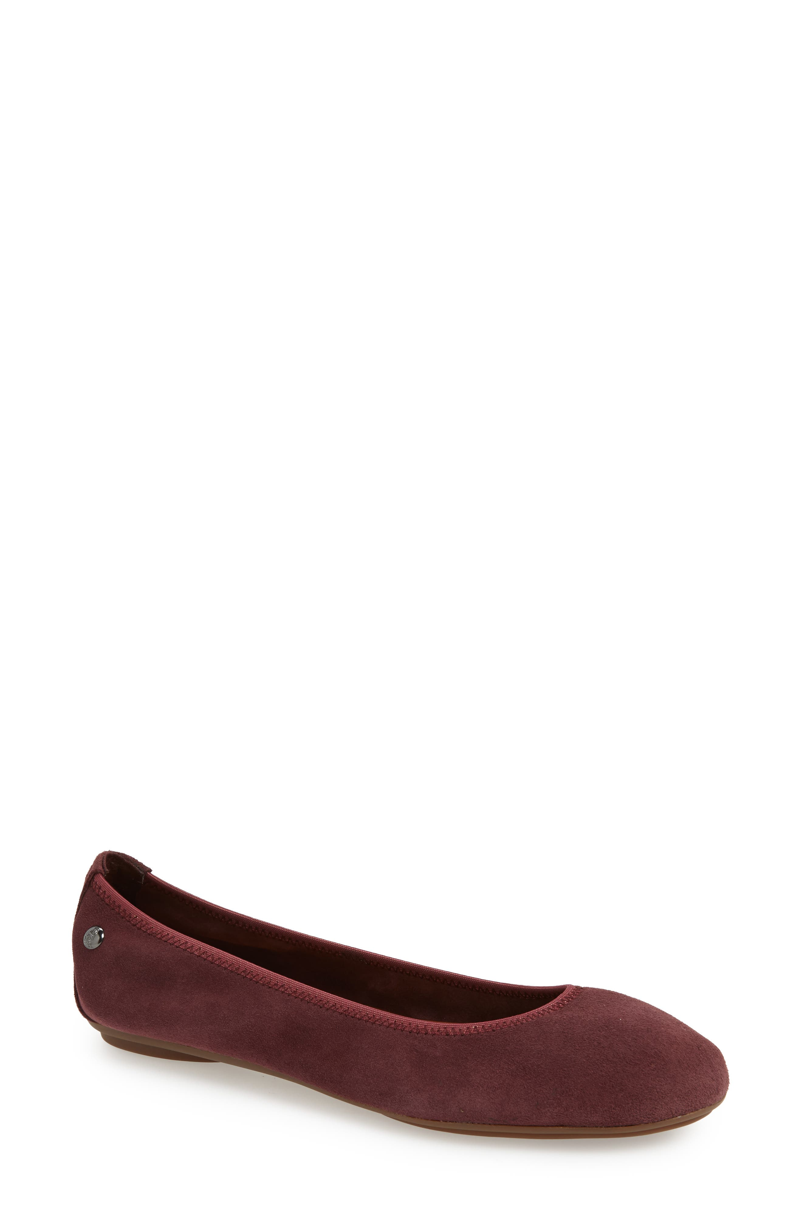 'Chaste' Ballet Flat,                             Main thumbnail 1, color,                             DARK WINE SUEDE