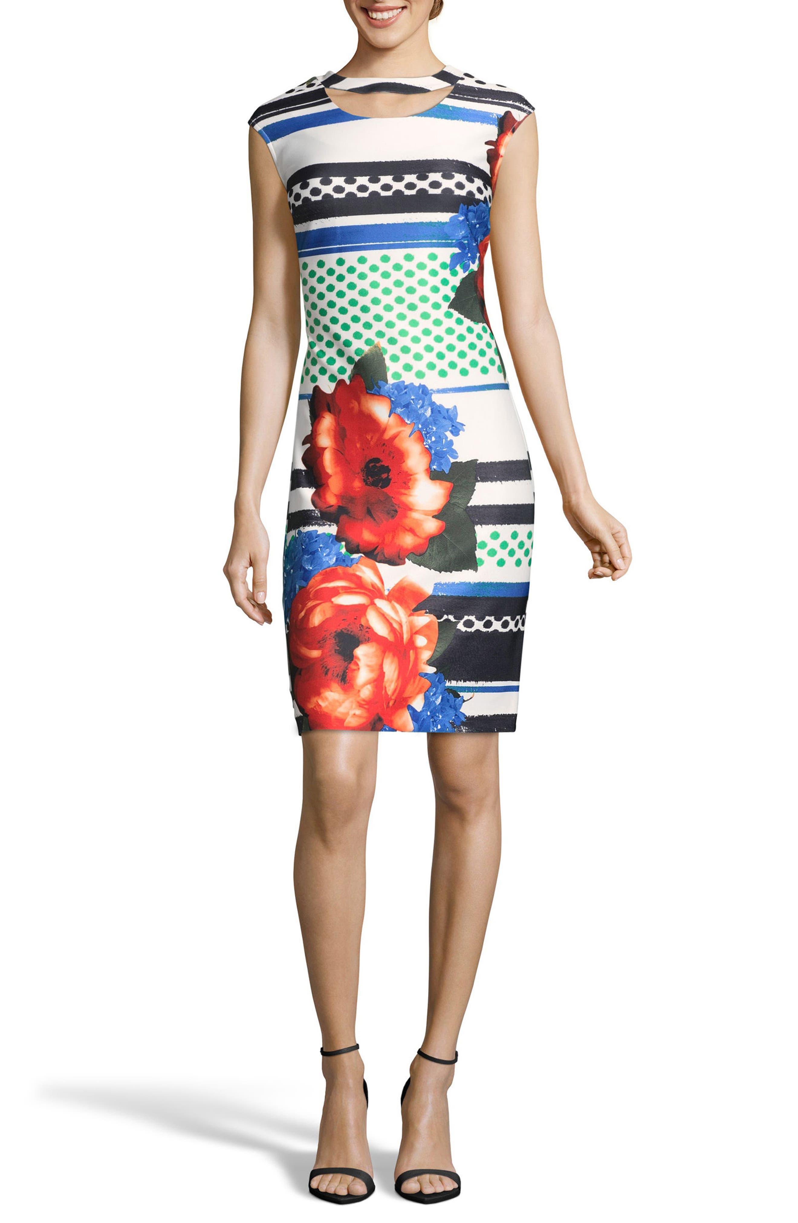 Placement Print Sheath Dress,                             Main thumbnail 1, color,                             BLACK/ WHITE/ RED