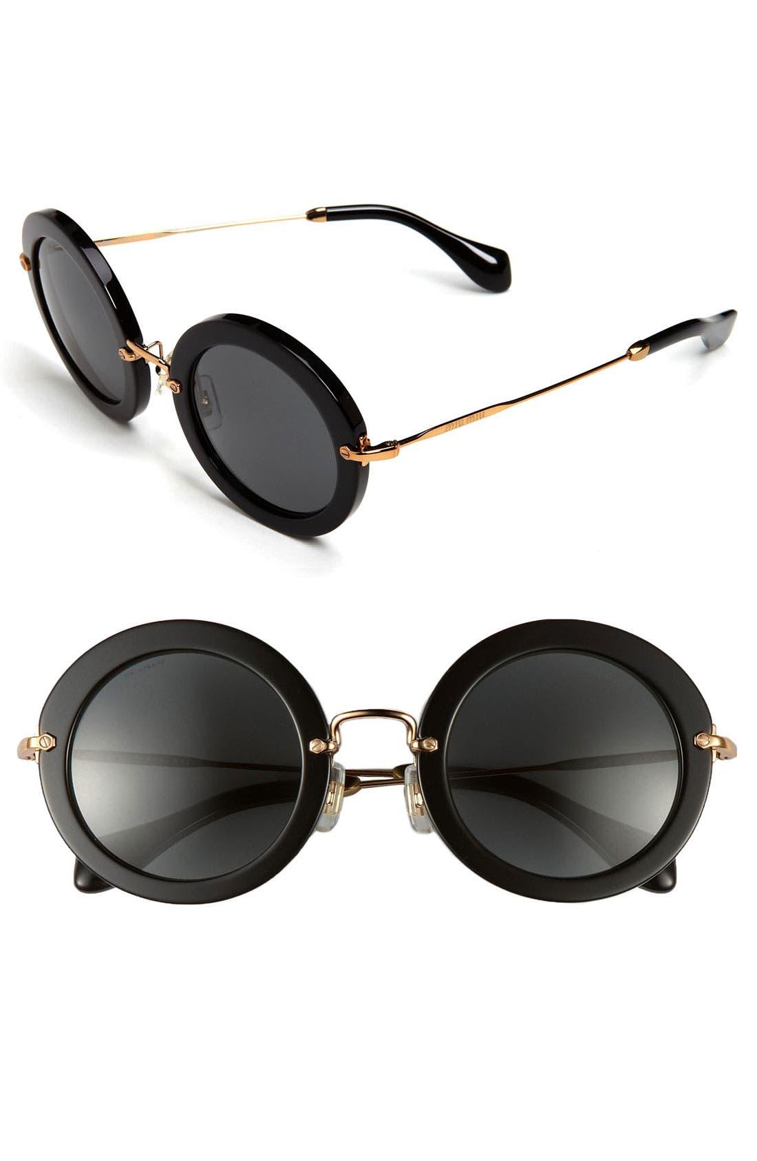 49mm Round Retro Sunglasses, Main, color, 001
