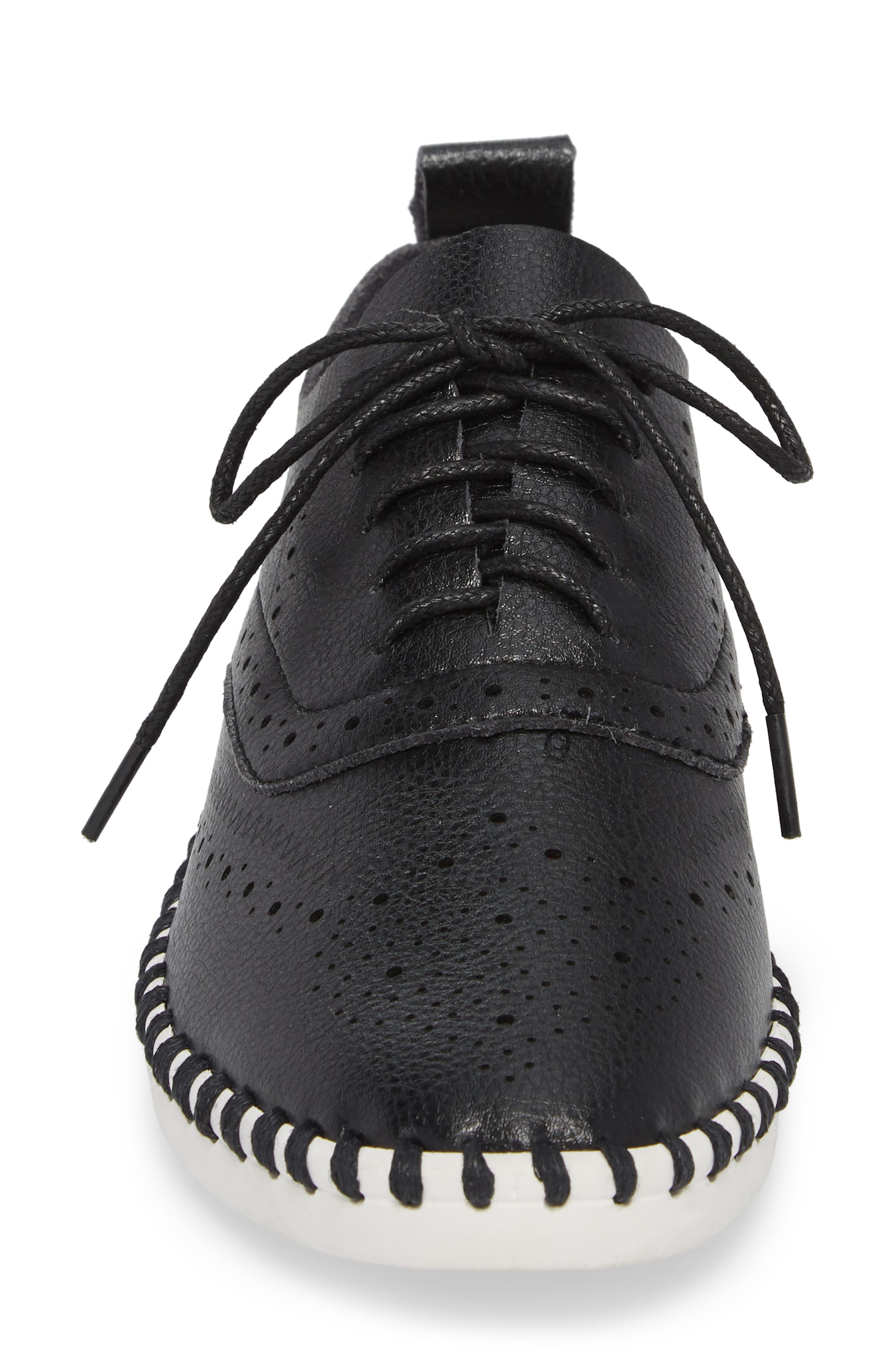 Salinas Waterproof Brogue Lace-Up Sneaker,                             Alternate thumbnail 4, color,                             BLACK FAUX LEATHER