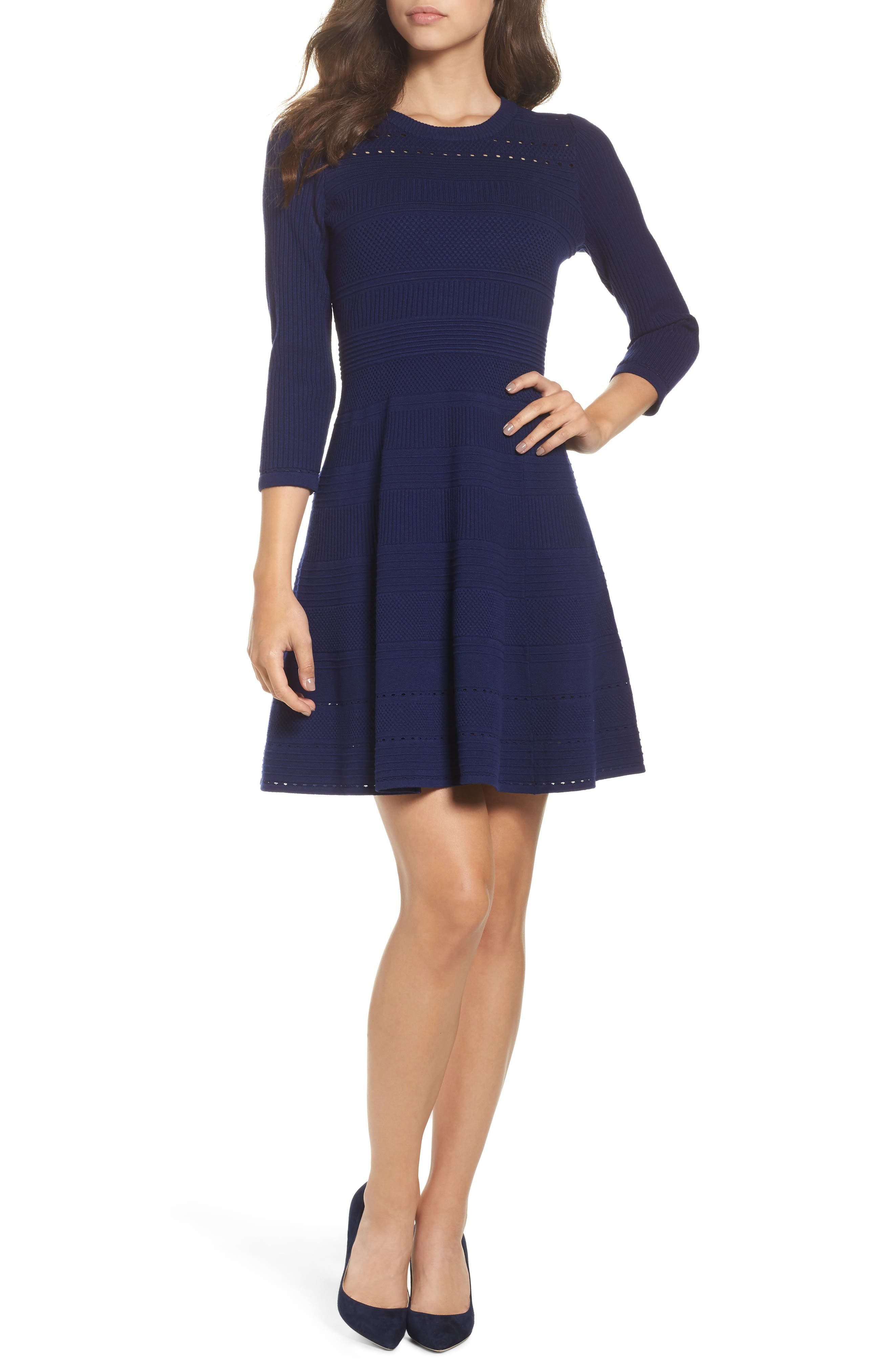 Fit & Flare Sweater Dress,                             Main thumbnail 3, color,