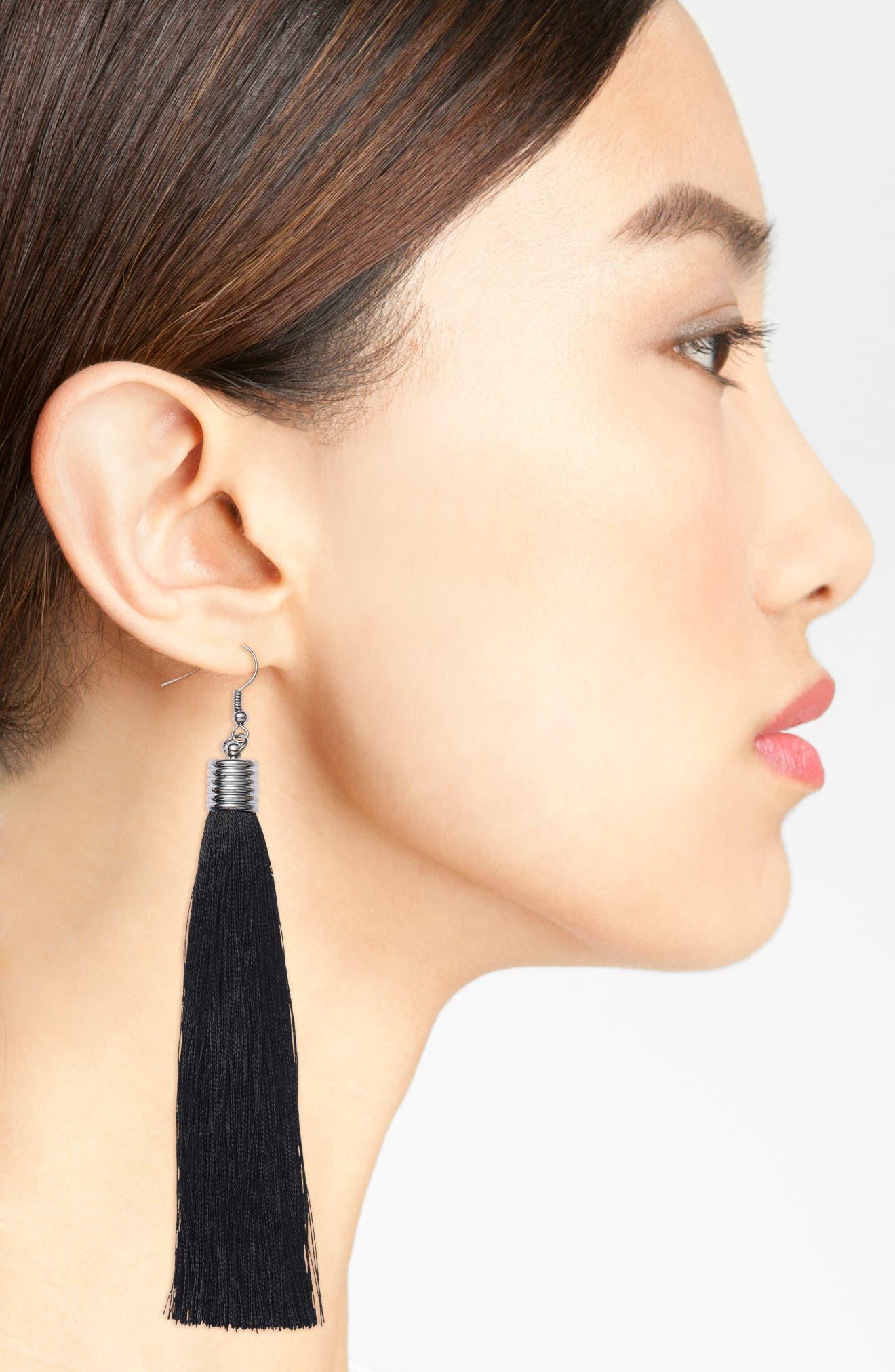 Tassel Drop Earrings,                             Alternate thumbnail 2, color,                             001