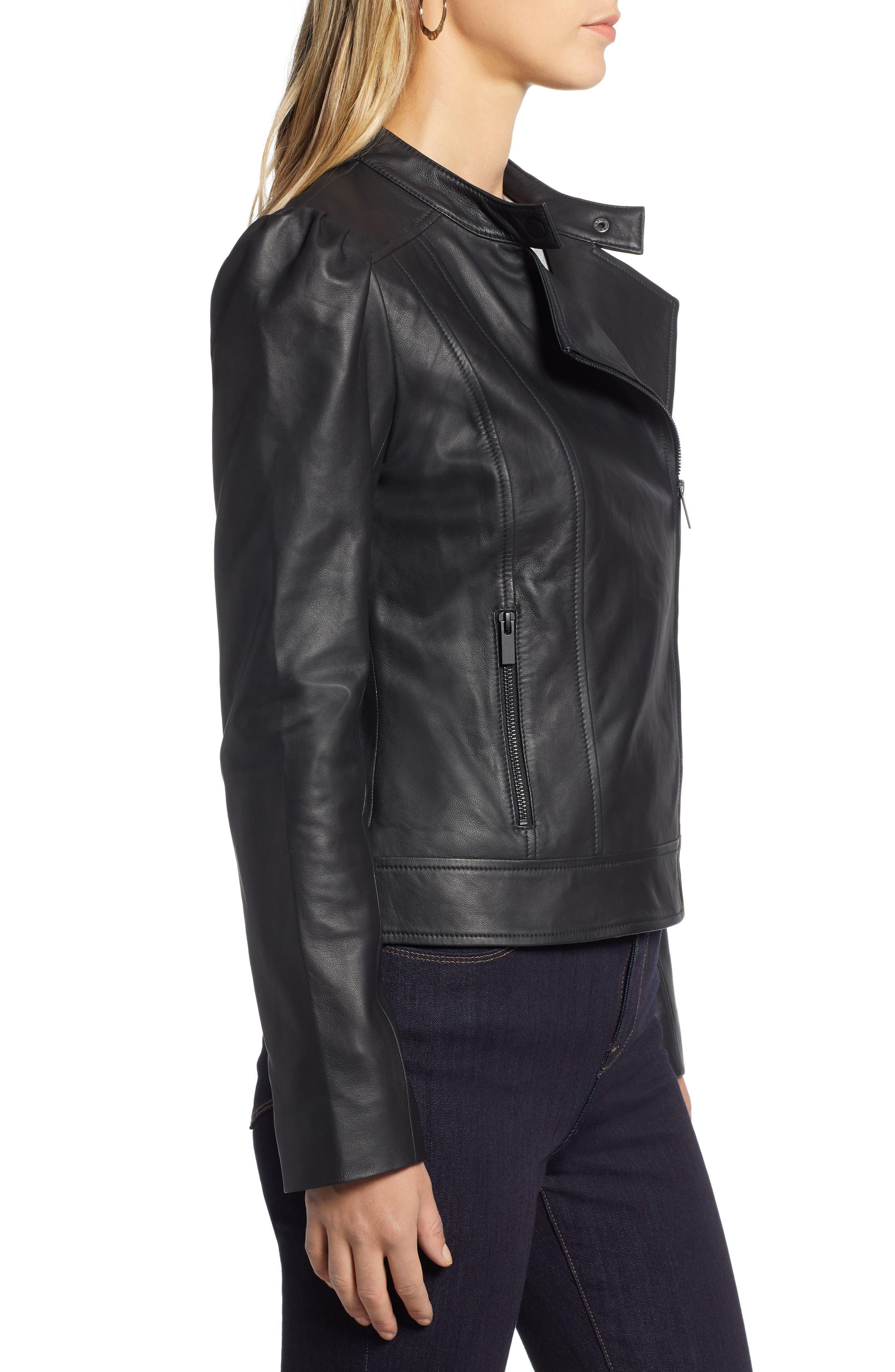HALOGEN<SUP>®</SUP>,                             Leather Jacket,                             Alternate thumbnail 3, color,                             001