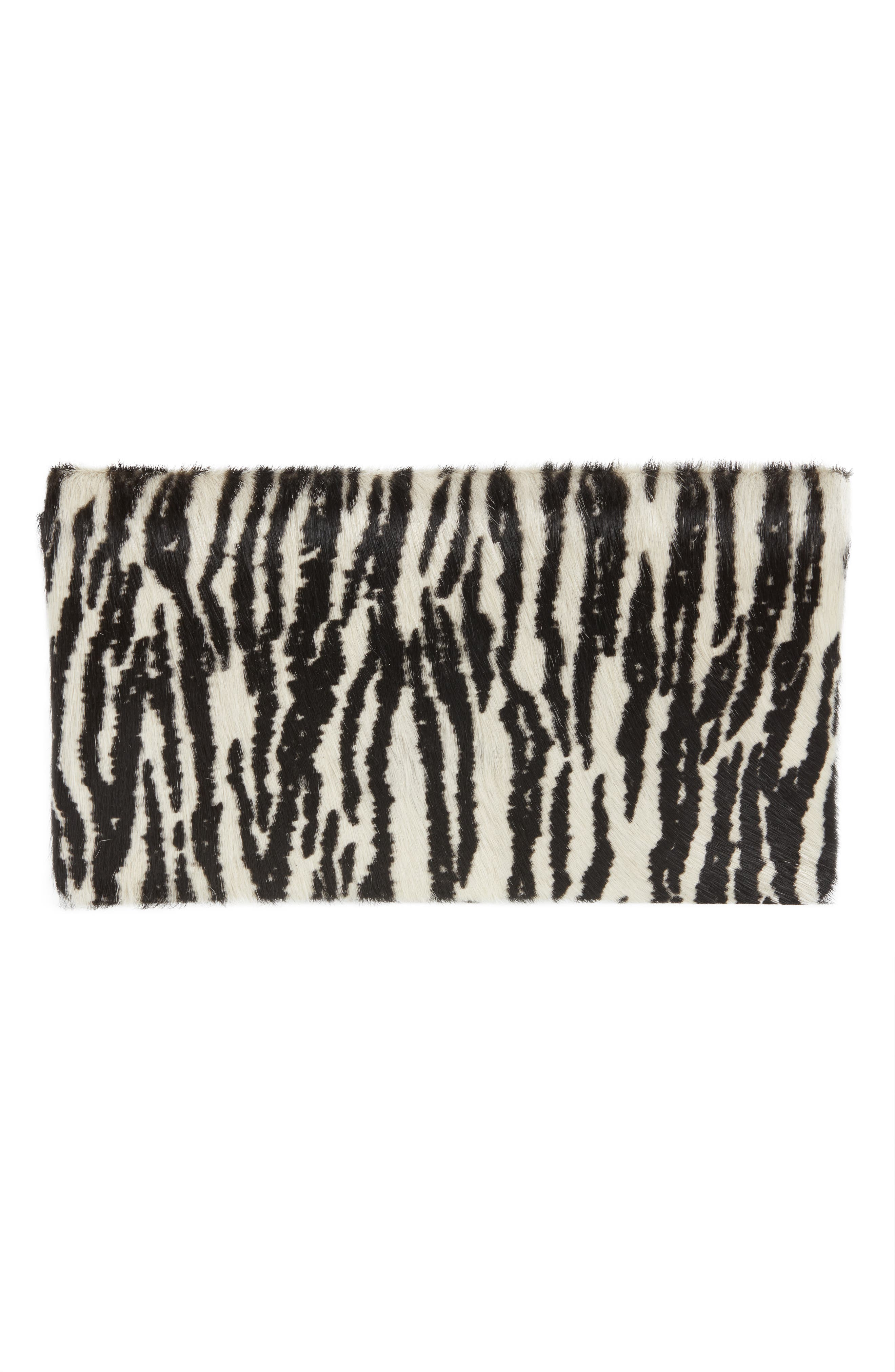 Zebra Print Genuine Calf Hair Foldover Clutch,                             Alternate thumbnail 3, color,                             900