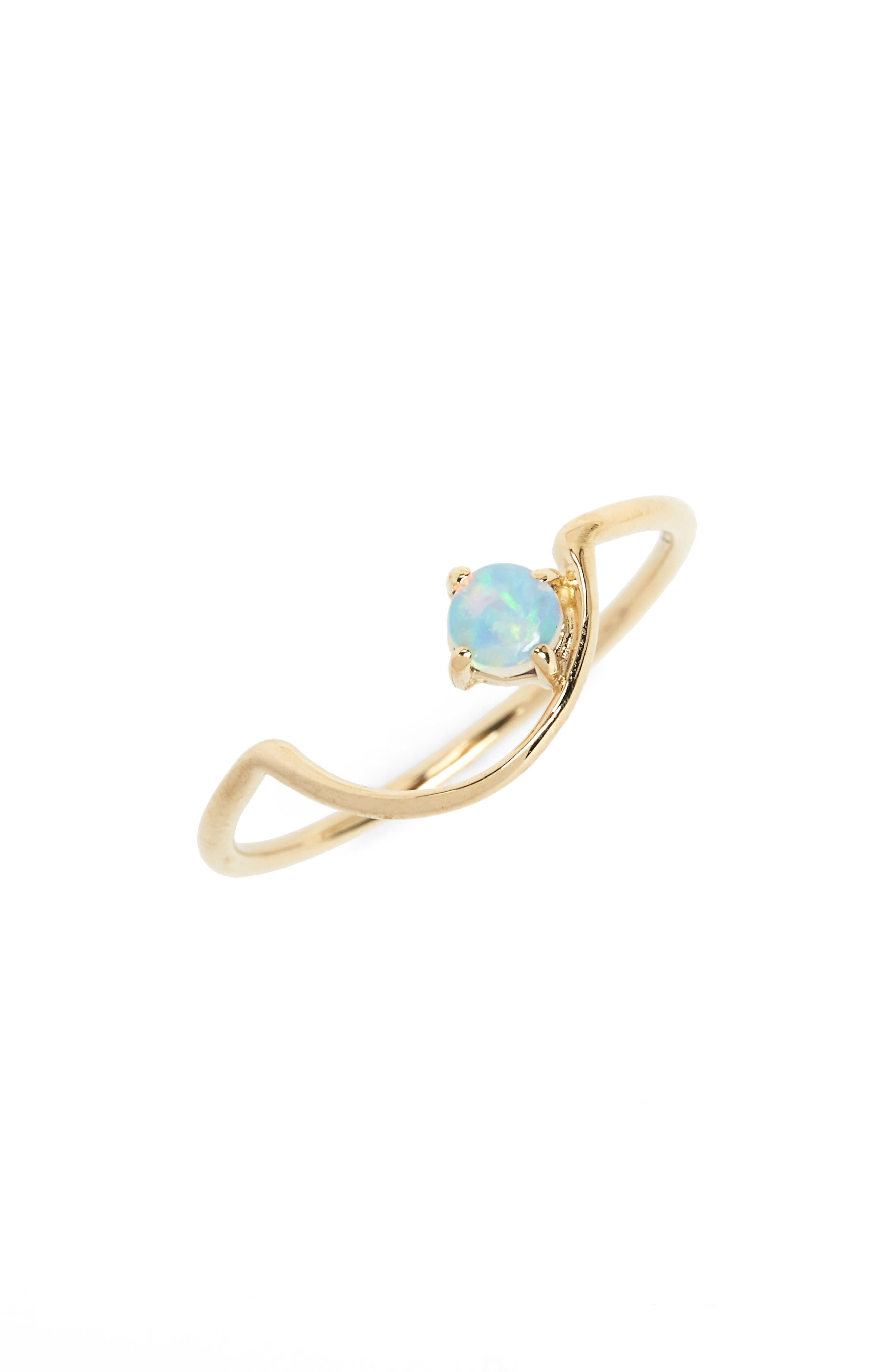 Offset Opal Arc Ring,                             Main thumbnail 1, color,                             OPAL/ GOLD