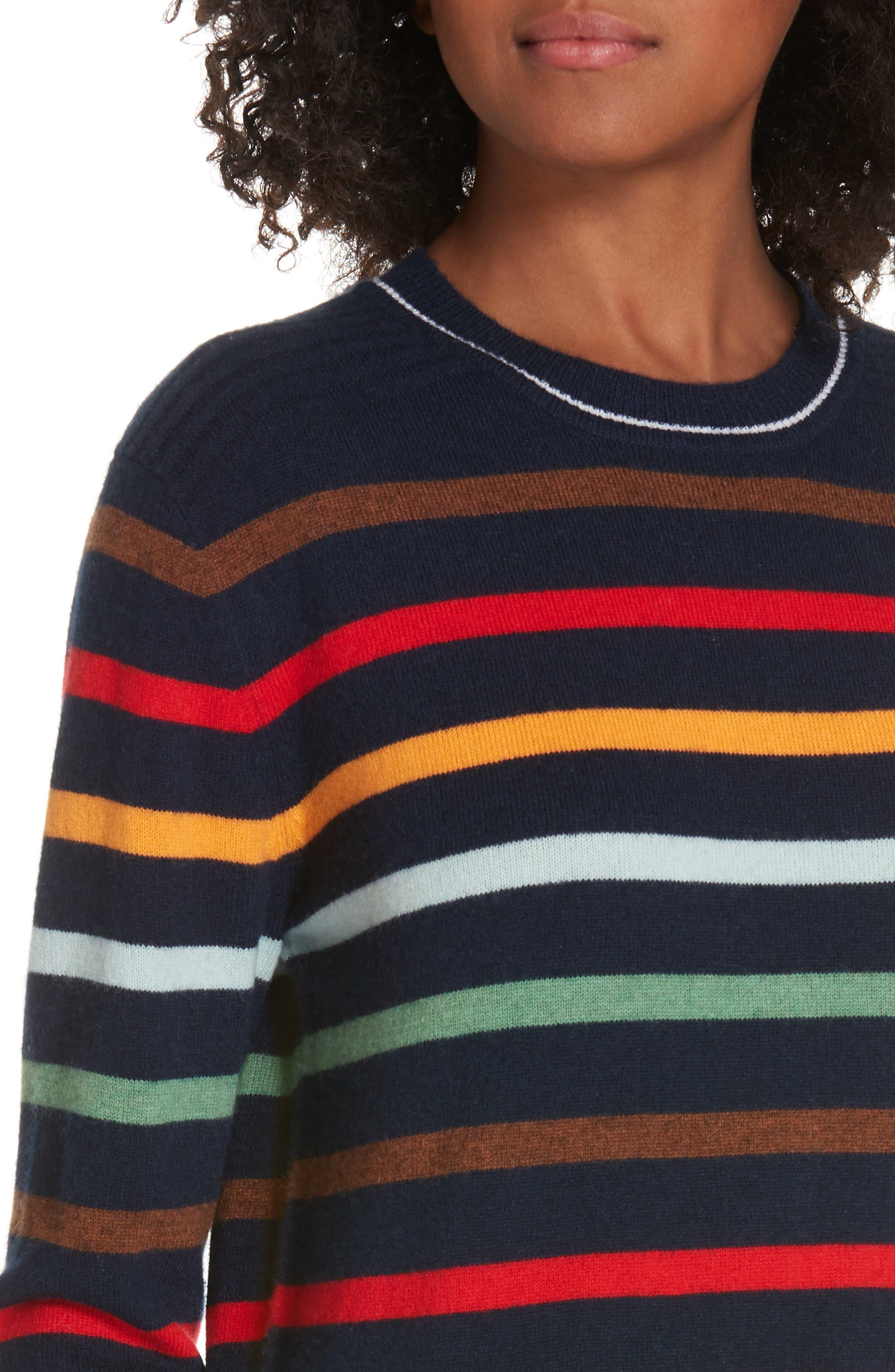 Rainbow Neat Wool & Cashmere Sweater,                             Alternate thumbnail 4, color,                             NAVY/ RAINBOW
